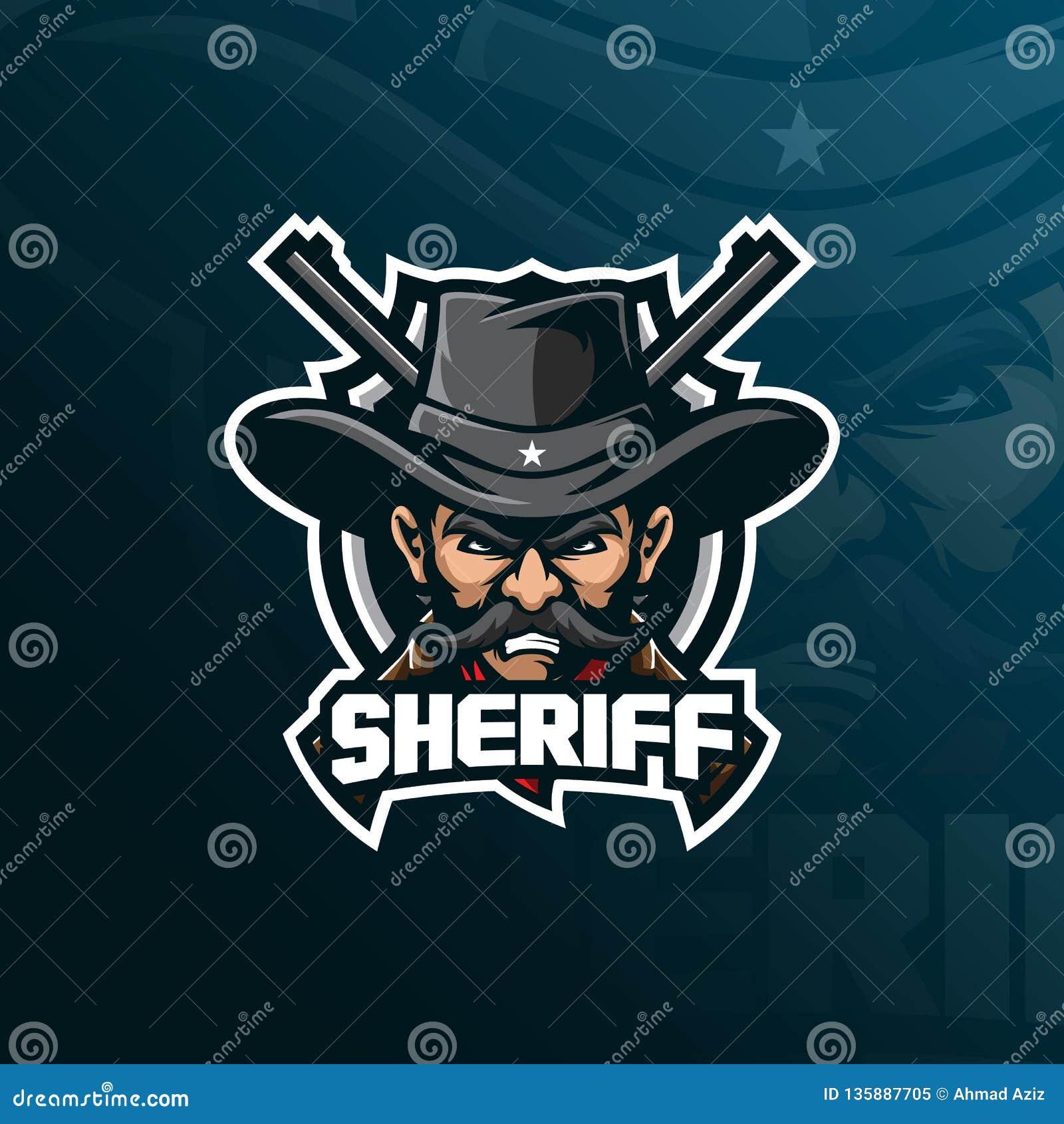 De vector van het het embleemontwerp van de sheriffmascotte met de moderne stijl van het illustratieconcept voor kenteken, emblee