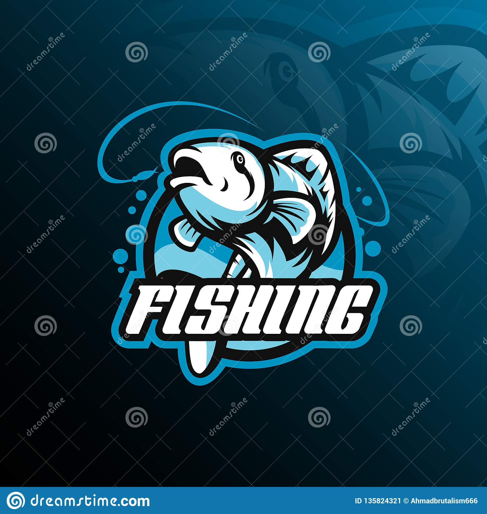 De vector van het het embleemontwerp van de vissenmascotte met de moderne stijl van het illustratieconcept voor kenteken, embleem