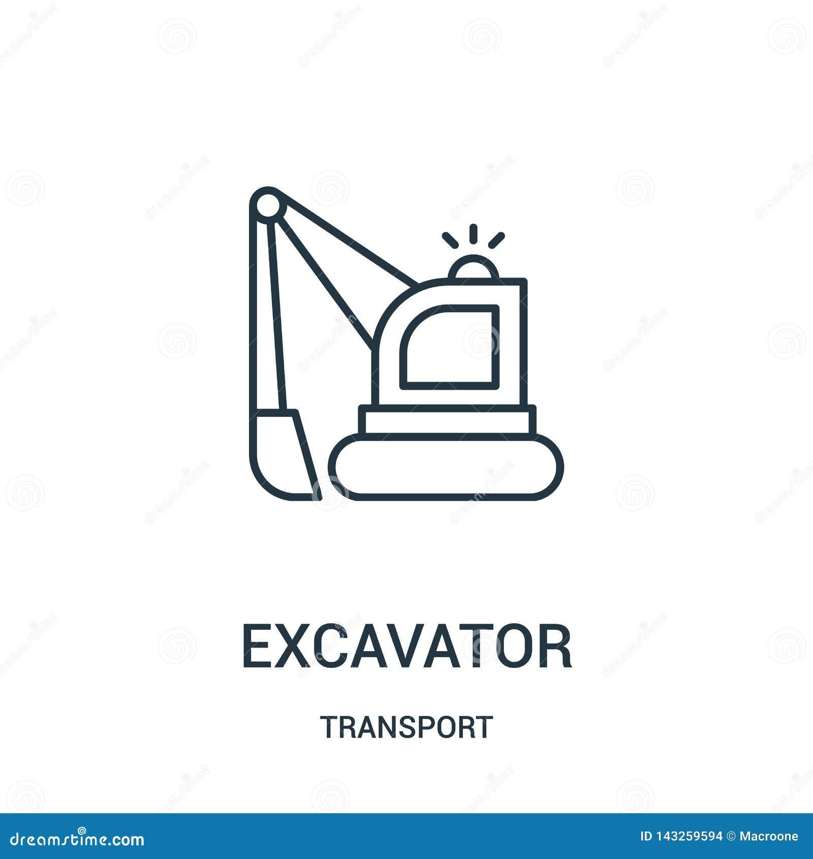 De vector van het graafwerktuigpictogram van vervoerinzameling De dunne van het het overzichtspictogram van het lijngraafwerktuig