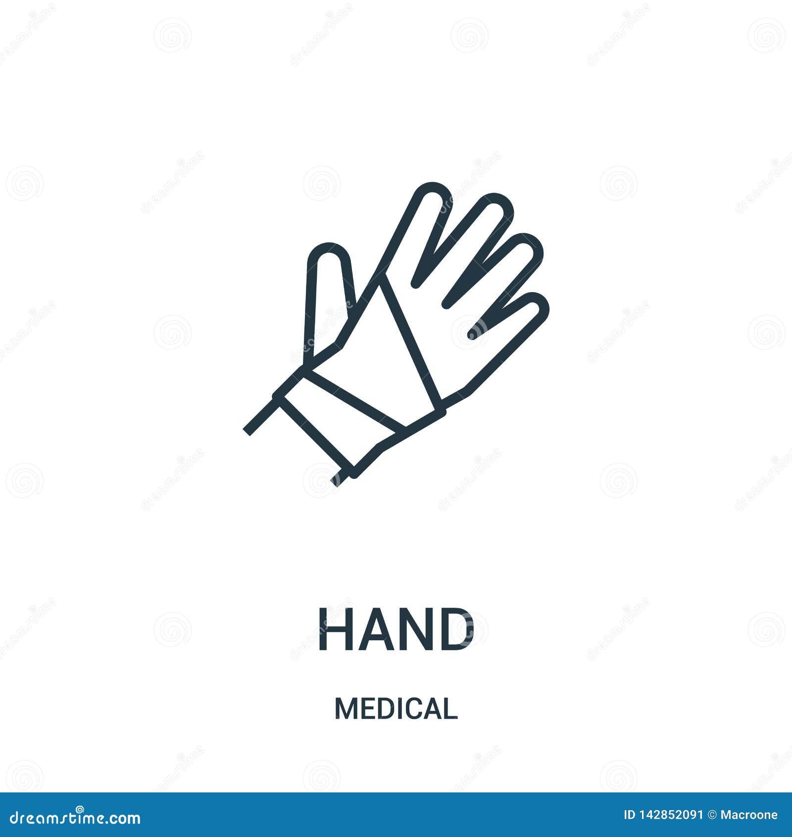 De vector van het handpictogram van medische inzameling De dunne van het het overzichtspictogram van de lijnhand vectorillustrati