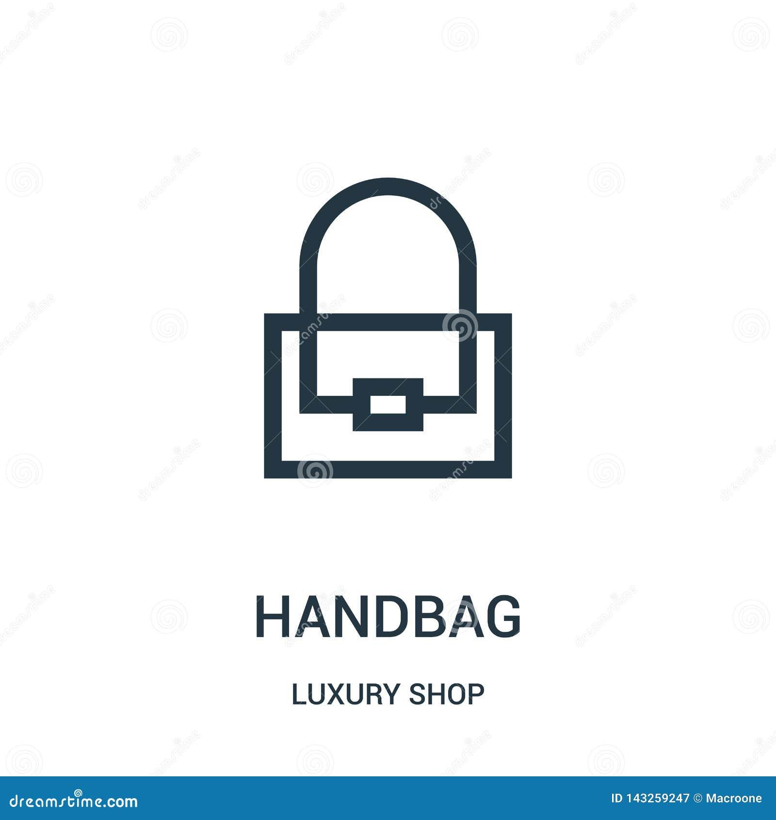 De vector van het handtaspictogram van de inzameling van de luxewinkel De dunne van het het overzichtspictogram van de lijnhandta
