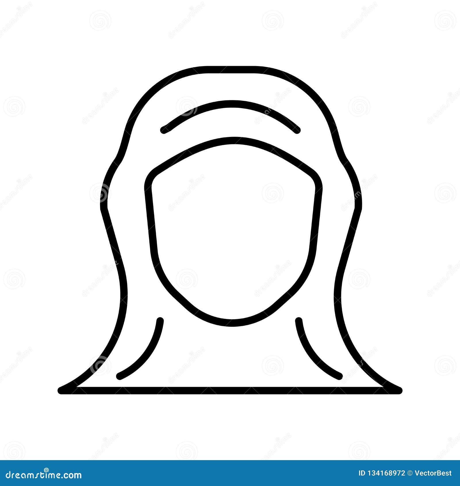 De vector van het Hijabpictogram op witte achtergrond, Hijab-teken, de dunne elementen van het lijnontwerp in overzichtsstijl die
