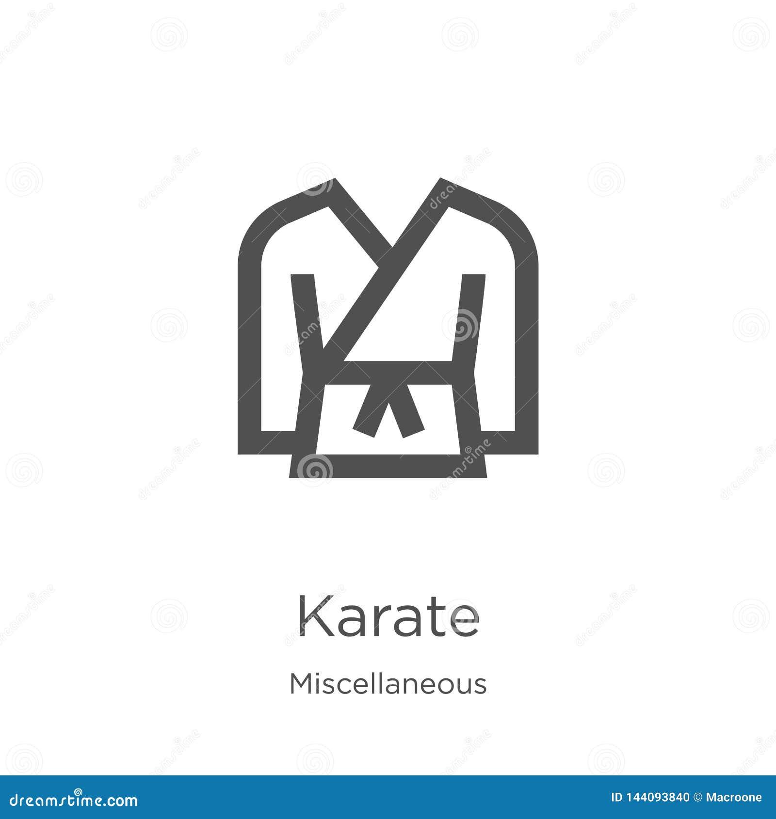 De vector van het karatepictogram van diverse inzameling De dunne van het het overzichtspictogram van de lijnkarate vectorillustr