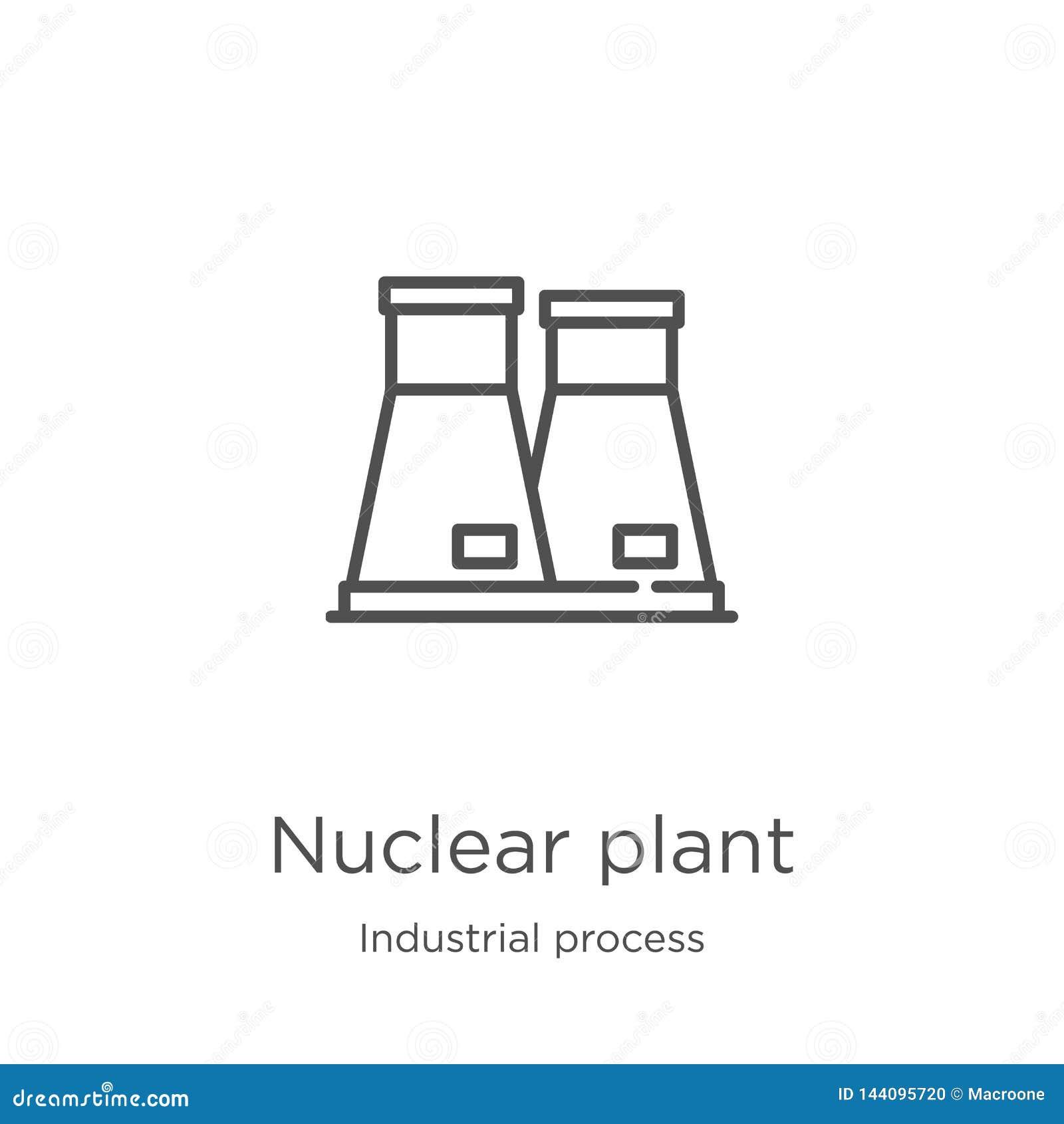 De vector van het kerncentralepictogram van industrieel procesinzameling De dunne van het het overzichtspictogram van de lijn ker