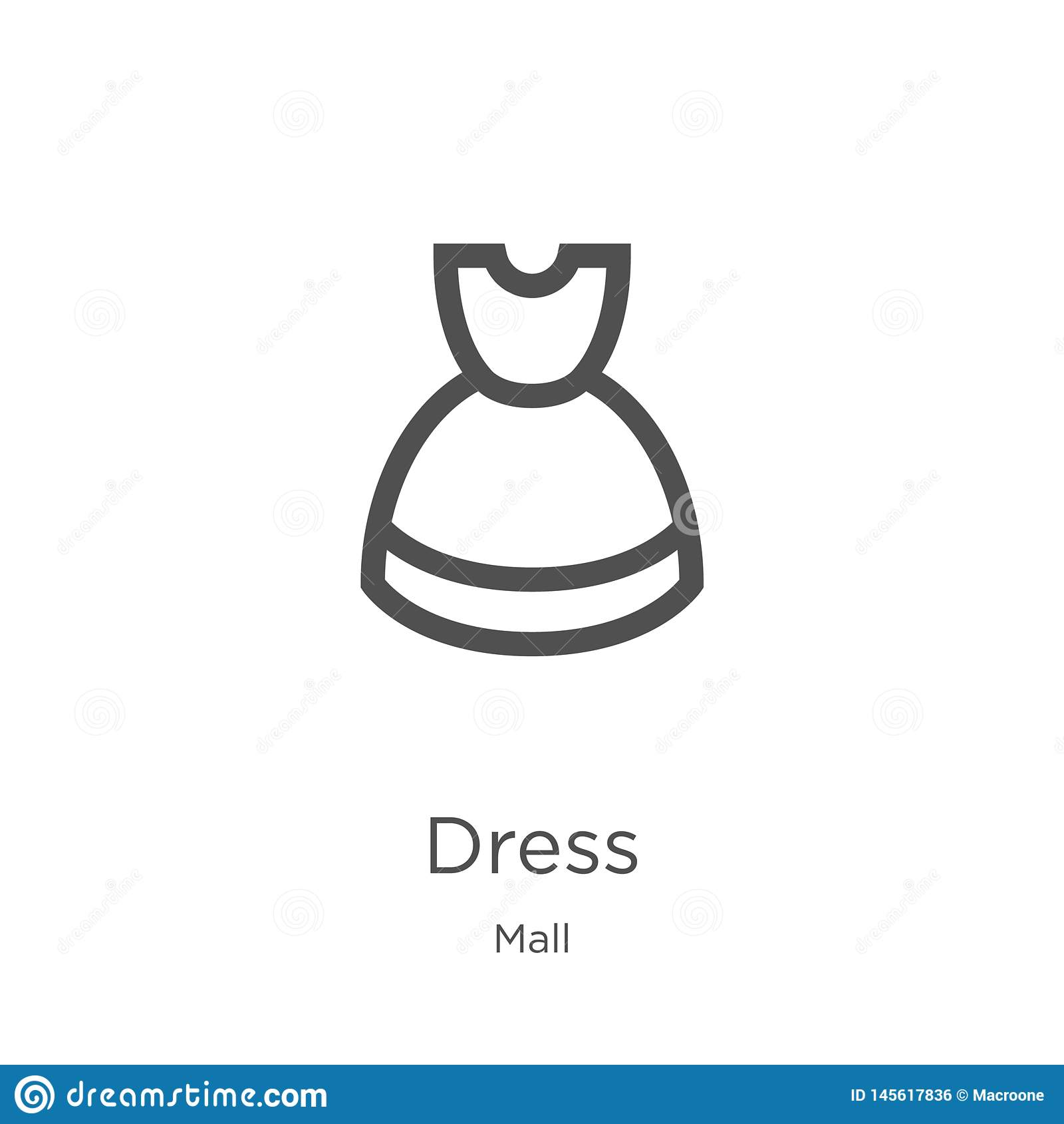 De vector van het kledingspictogram van wandelgalerijinzameling De dunne van het het overzichtspictogram van de lijnkleding vecto