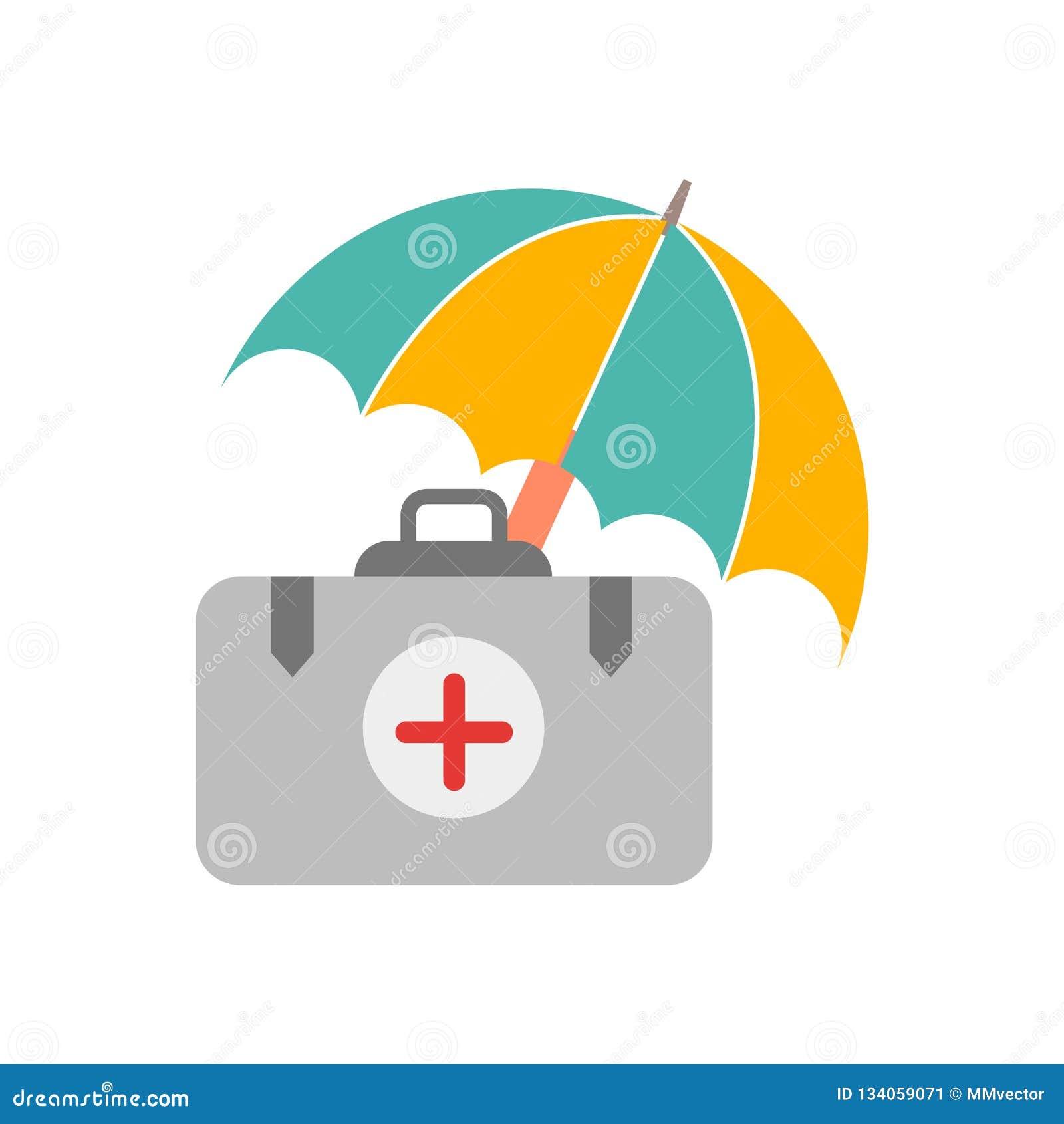De vector van het medische die verzekeringspictogram op witte achtergrond, Medische verzekeringsteken, weersymbolen wordt geïsole