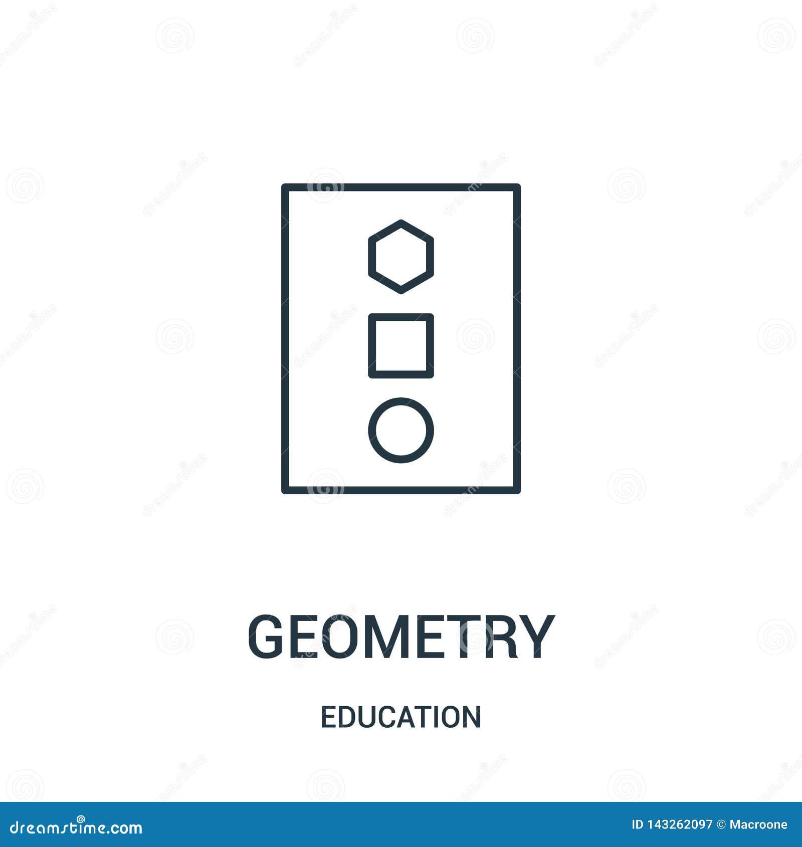 De vector van het meetkundepictogram van onderwijsinzameling De dunne van het het overzichtspictogram van de lijnmeetkunde vector