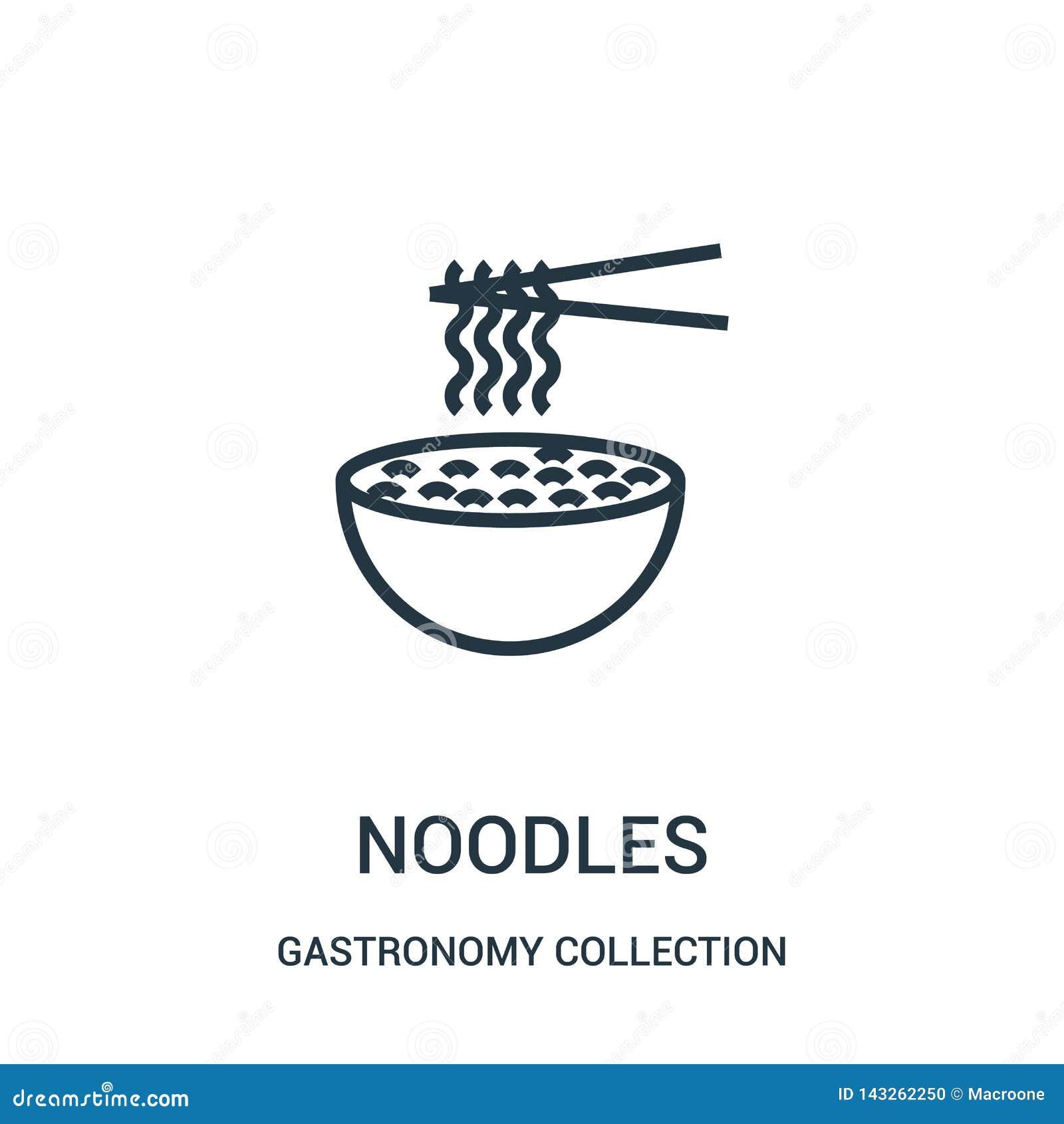 De vector van het noedelspictogram van de inzameling van de gastronomieinzameling De dunne van het het overzichtspictogram van li