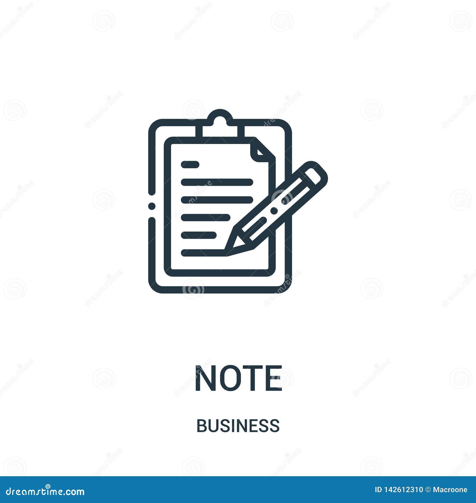 De vector van het notapictogram van bedrijfsinzameling De dunne van het het overzichtspictogram van de lijnnota vectorillustratie