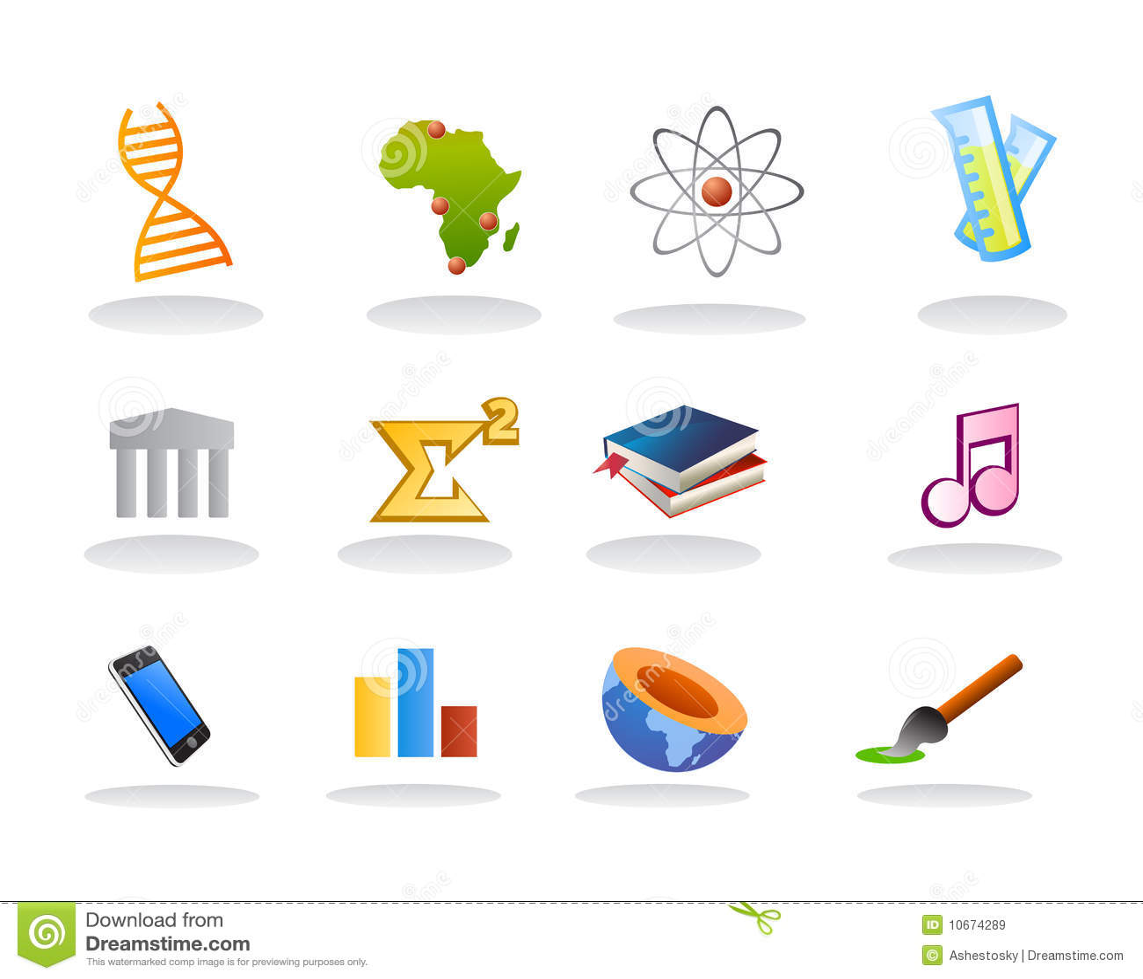 De vector van het onderwerpspictogrammen van de school