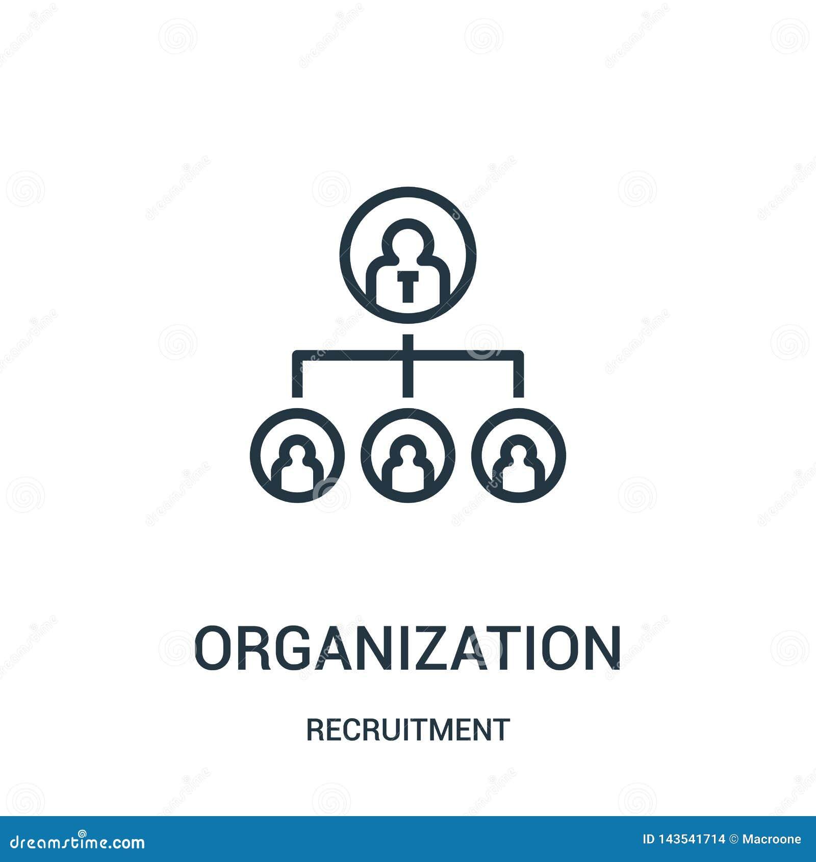 De vector van het organisatiepictogram van rekruteringsinzameling De dunne van het het overzichtspictogram van de lijnorganisatie