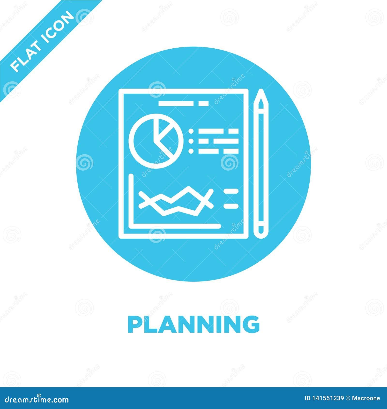 De vector van het planningspictogram Dunne lijn het pictogram vectorillustratie van het planningsoverzicht de planning van symboo