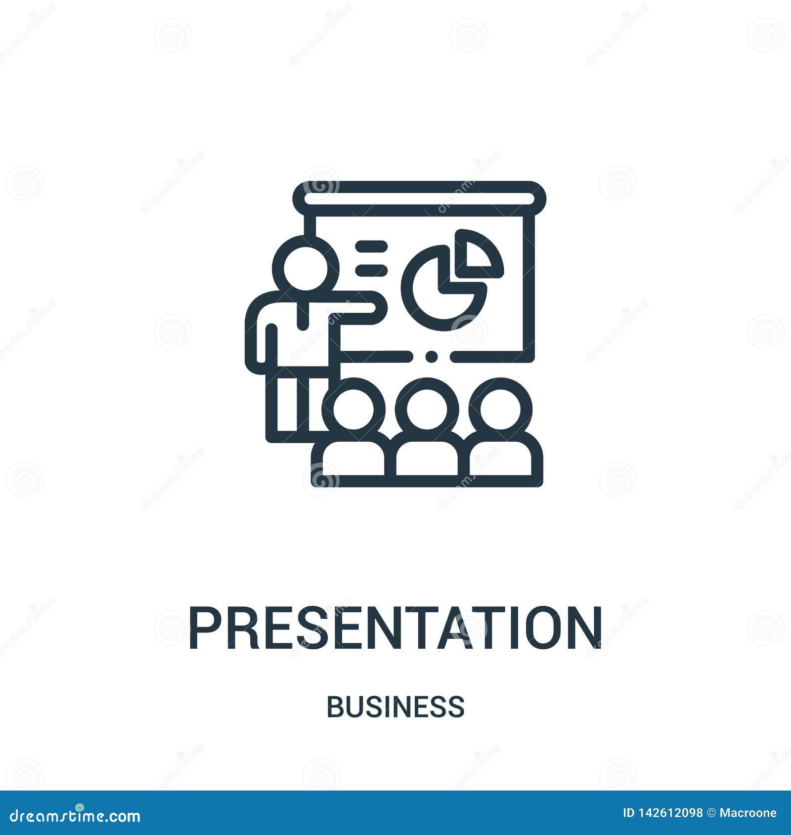 De vector van het presentatiepictogram van bedrijfsinzameling De dunne van het het overzichtspictogram van de lijnpresentatie vec