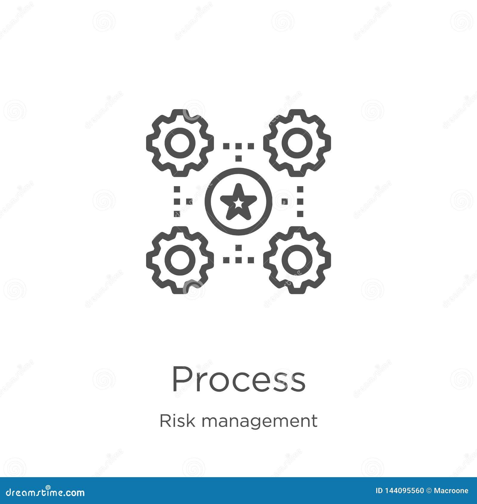 De vector van het procespictogram van risicobeheerinzameling De dunne van het het overzichtspictogram van het lijnproces vectoril