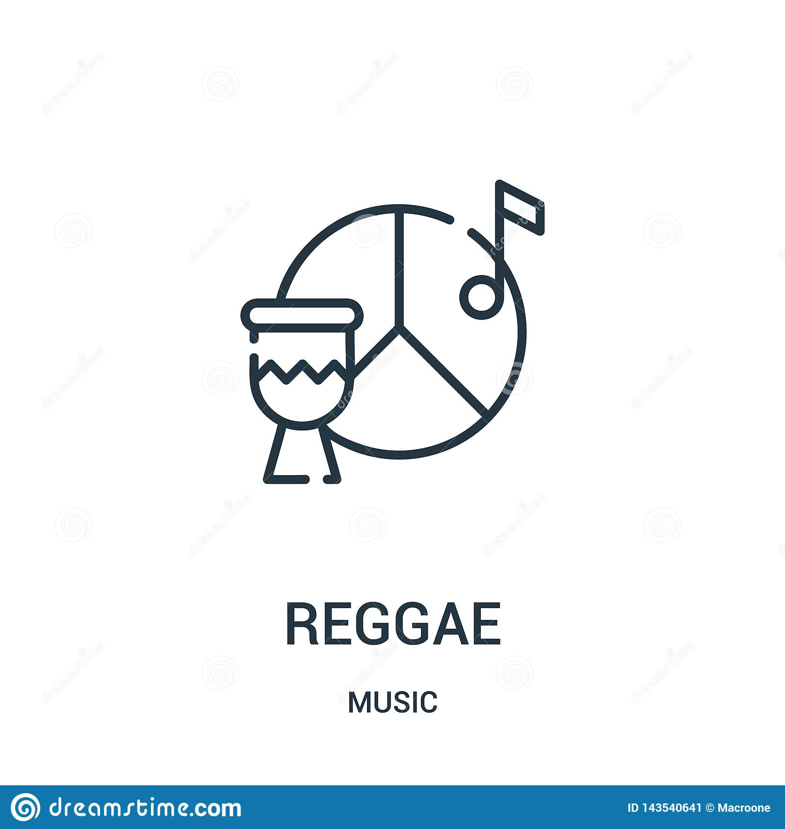 De vector van het reggaepictogram van muziekinzameling De dunne van het het overzichtspictogram van lijnreggae vectorillustratie
