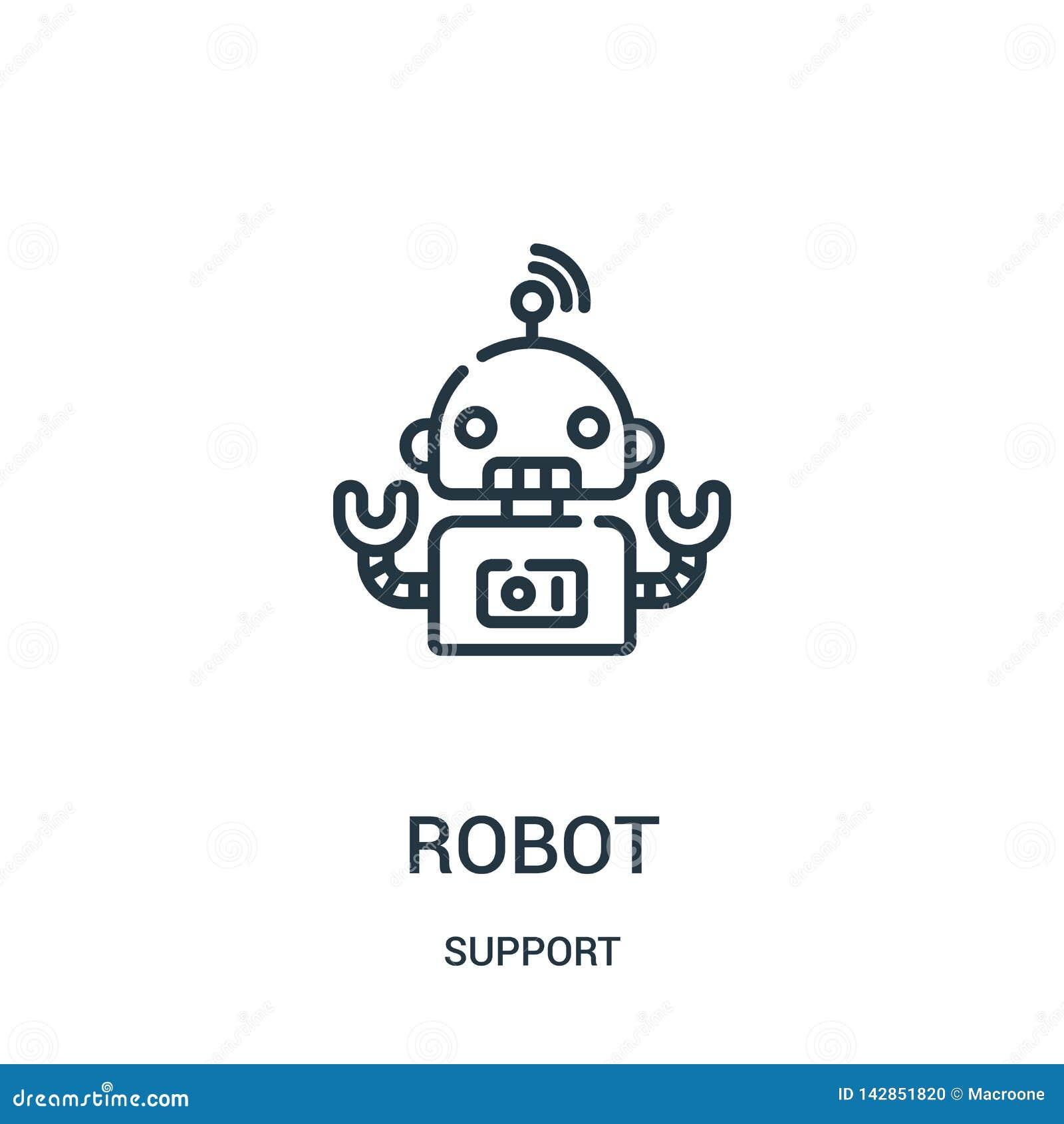De vector van het robotpictogram van steuninzameling De dunne van het het overzichtspictogram van de lijnrobot vectorillustratie