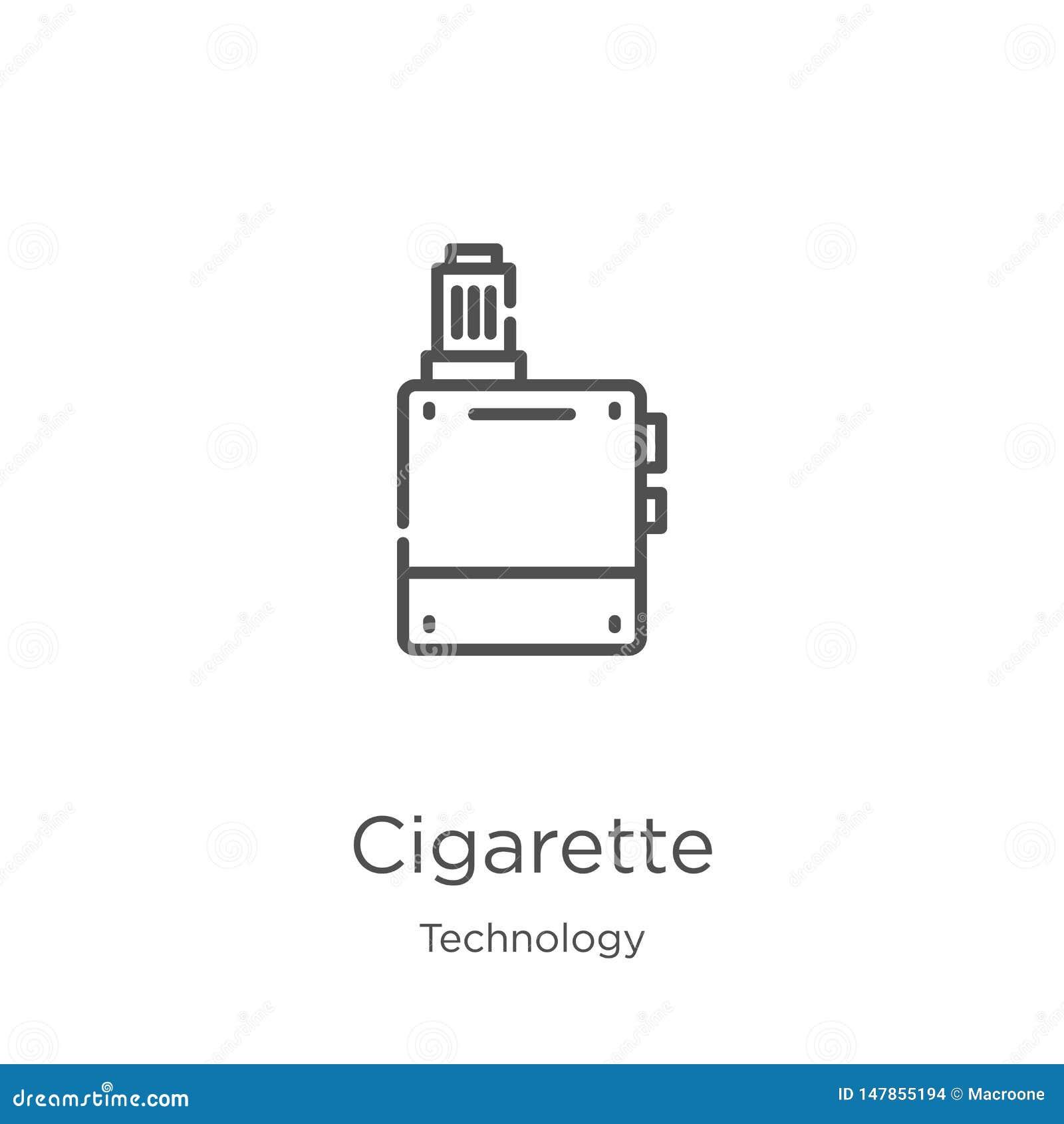 De vector van het sigaretpictogram van technologieinzameling De dunne van het het overzichtspictogram van de lijnsigaret vectoril
