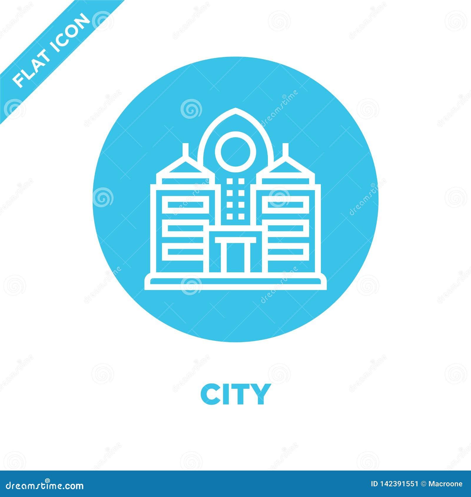 De vector van het stadspictogram van globale het verwarmen inzameling De dunne van het het overzichtspictogram van de lijnstad ve