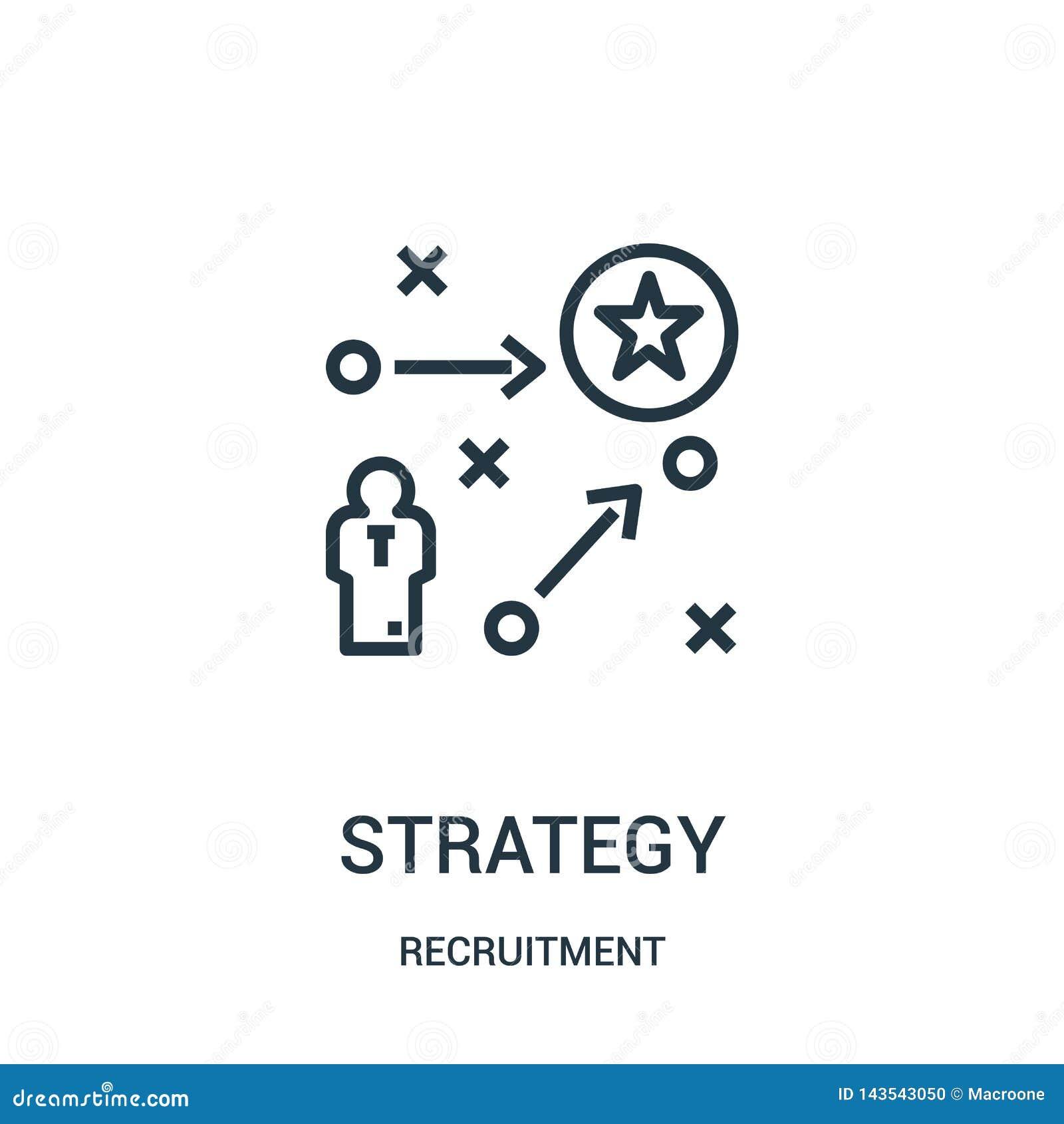 De vector van het strategiepictogram van rekruteringsinzameling De dunne van het het overzichtspictogram van de lijnstrategie vec