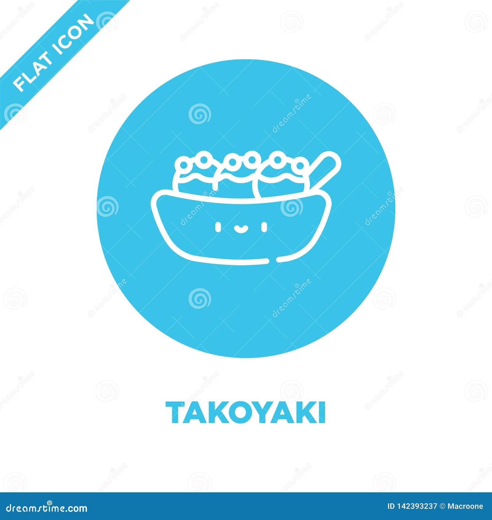 De vector van het takoyakipictogram van haalt inzameling weg De dunne van het het overzichtspictogram van lijntakoyaki vectorillu
