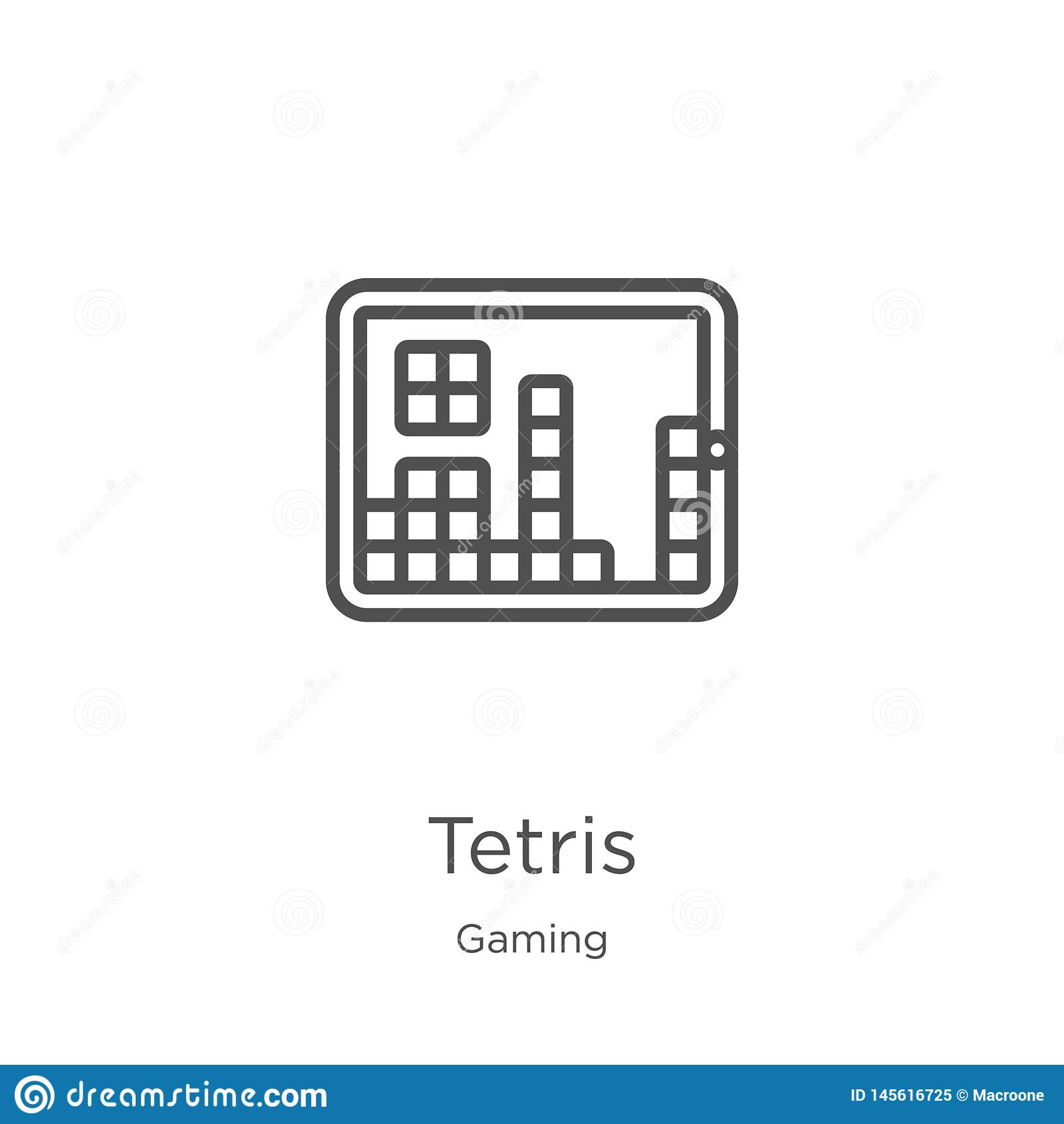 De vector van het tetrispictogram van gokkeninzameling De dunne van het het overzichtspictogram van lijntetris vectorillustratie