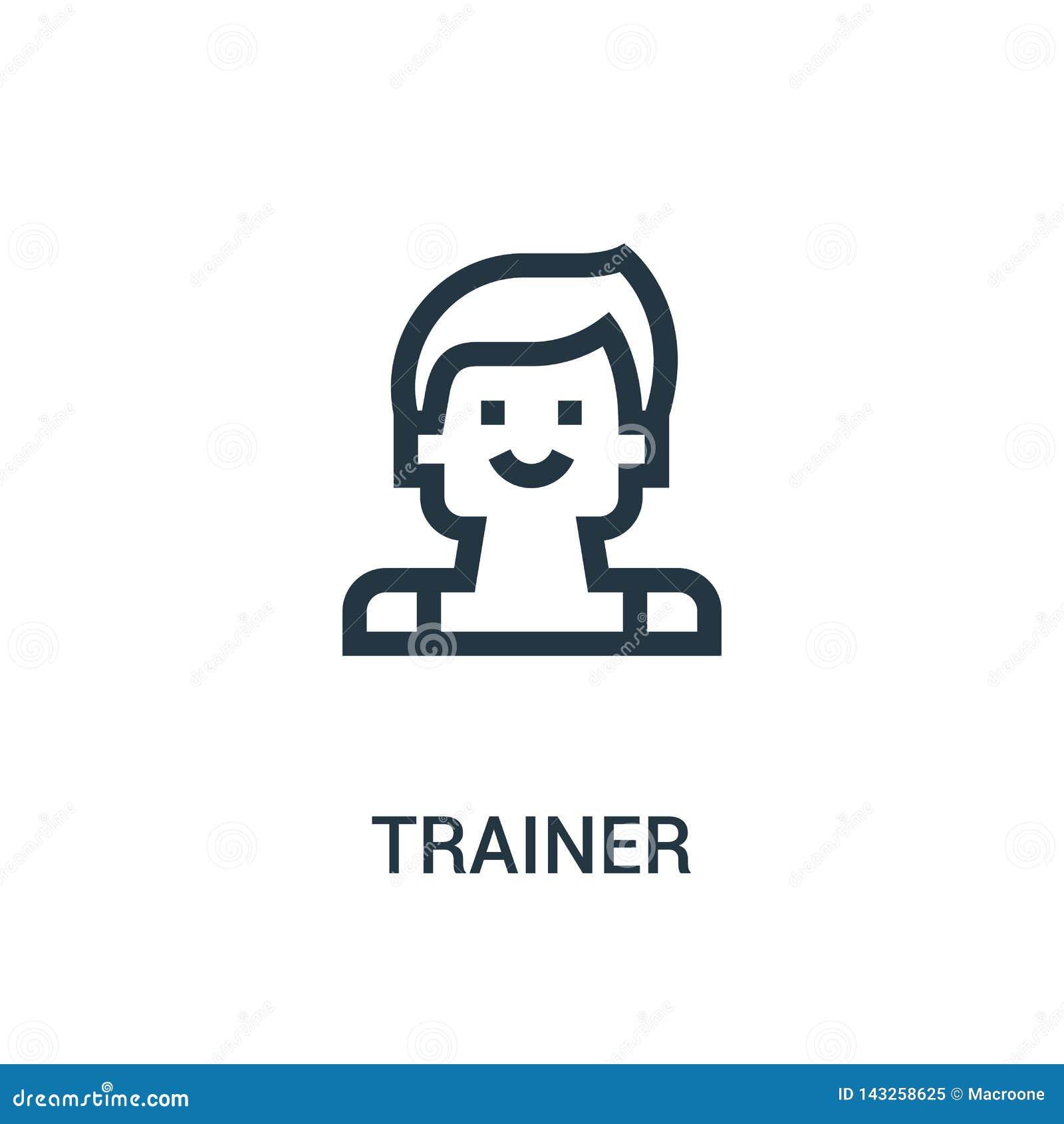 De vector van het trainerpictogram van gymnastiekinzameling De dunne van het het overzichtspictogram van de lijntrainer vectorill