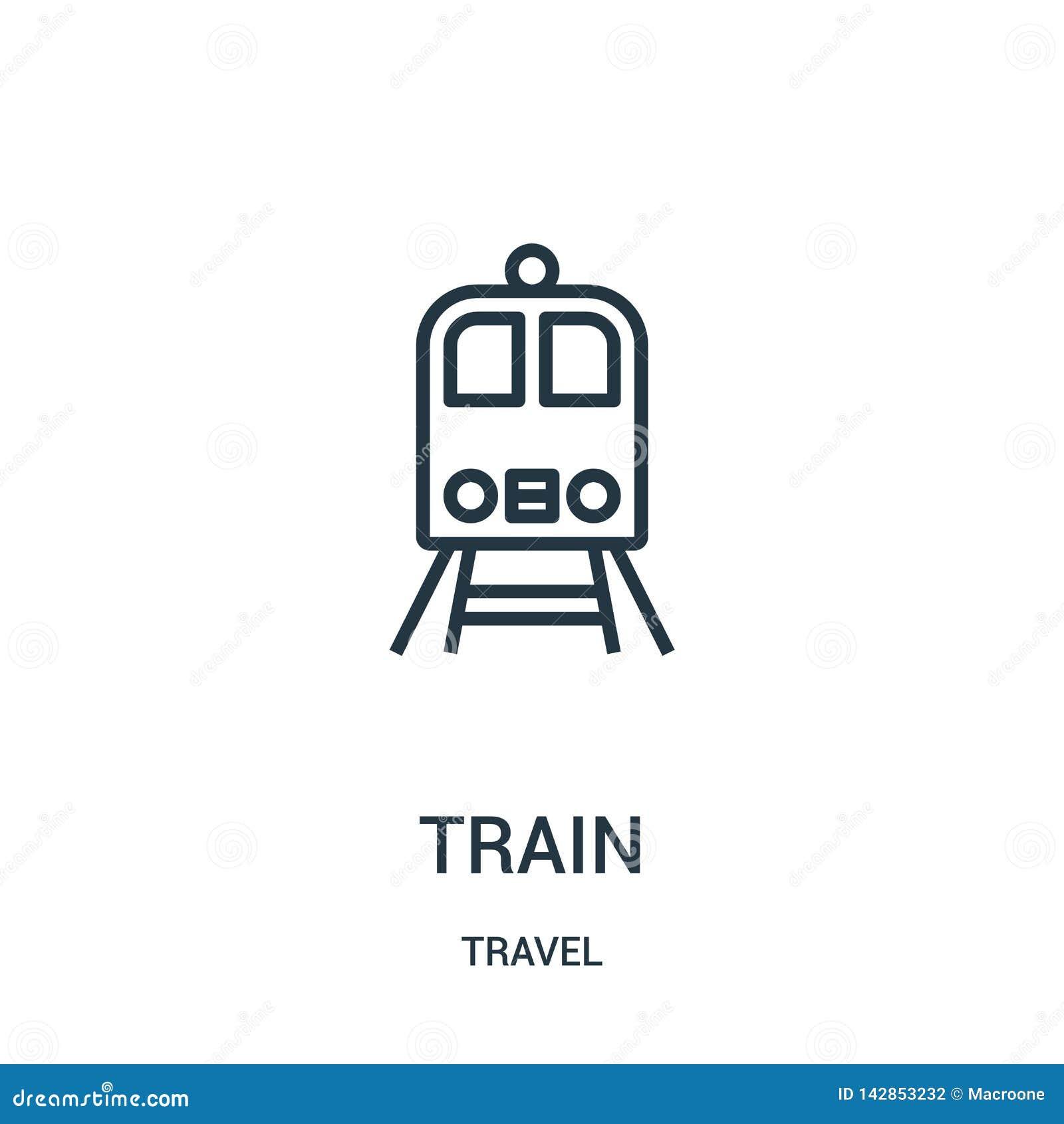 De vector van het treinpictogram van reisinzameling De dunne van het het overzichtspictogram van de lijntrein vectorillustratie L