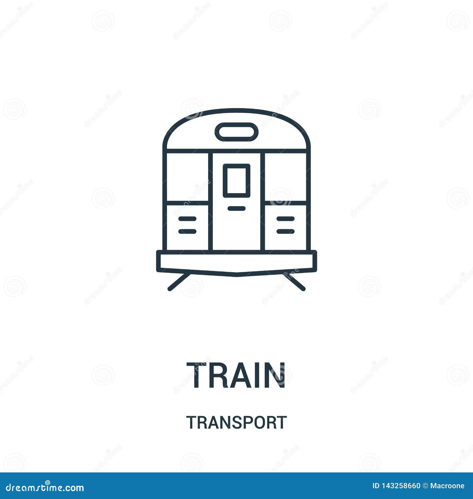De vector van het treinpictogram van vervoerinzameling De dunne van het het overzichtspictogram van de lijntrein vectorillustrati