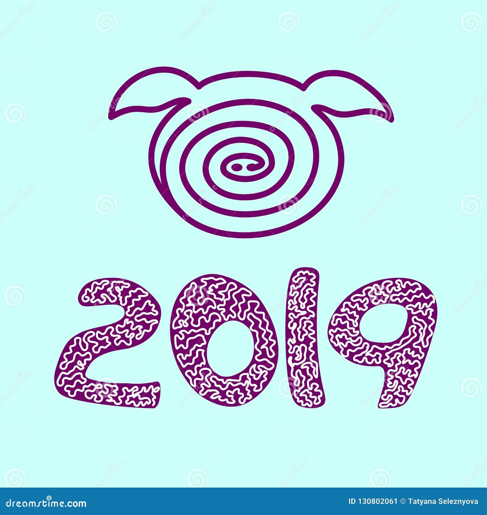 De vector van het varkenspictogram 2019, Gelukkig Nieuwjaar Blauwe backgraund,