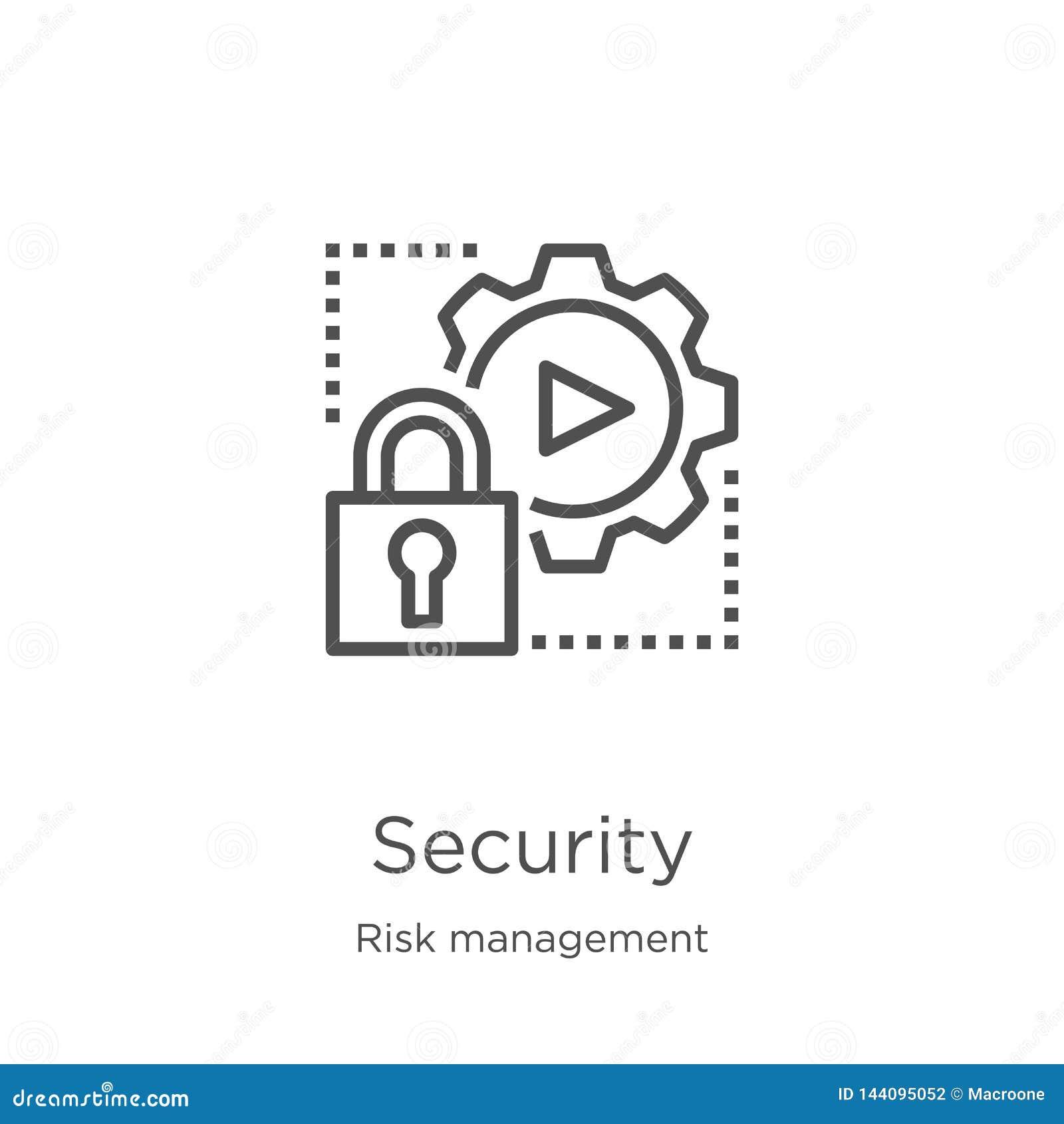 De vector van het veiligheidspictogram van risicobeheerinzameling De dunne van het het overzichtspictogram van de lijnveiligheid