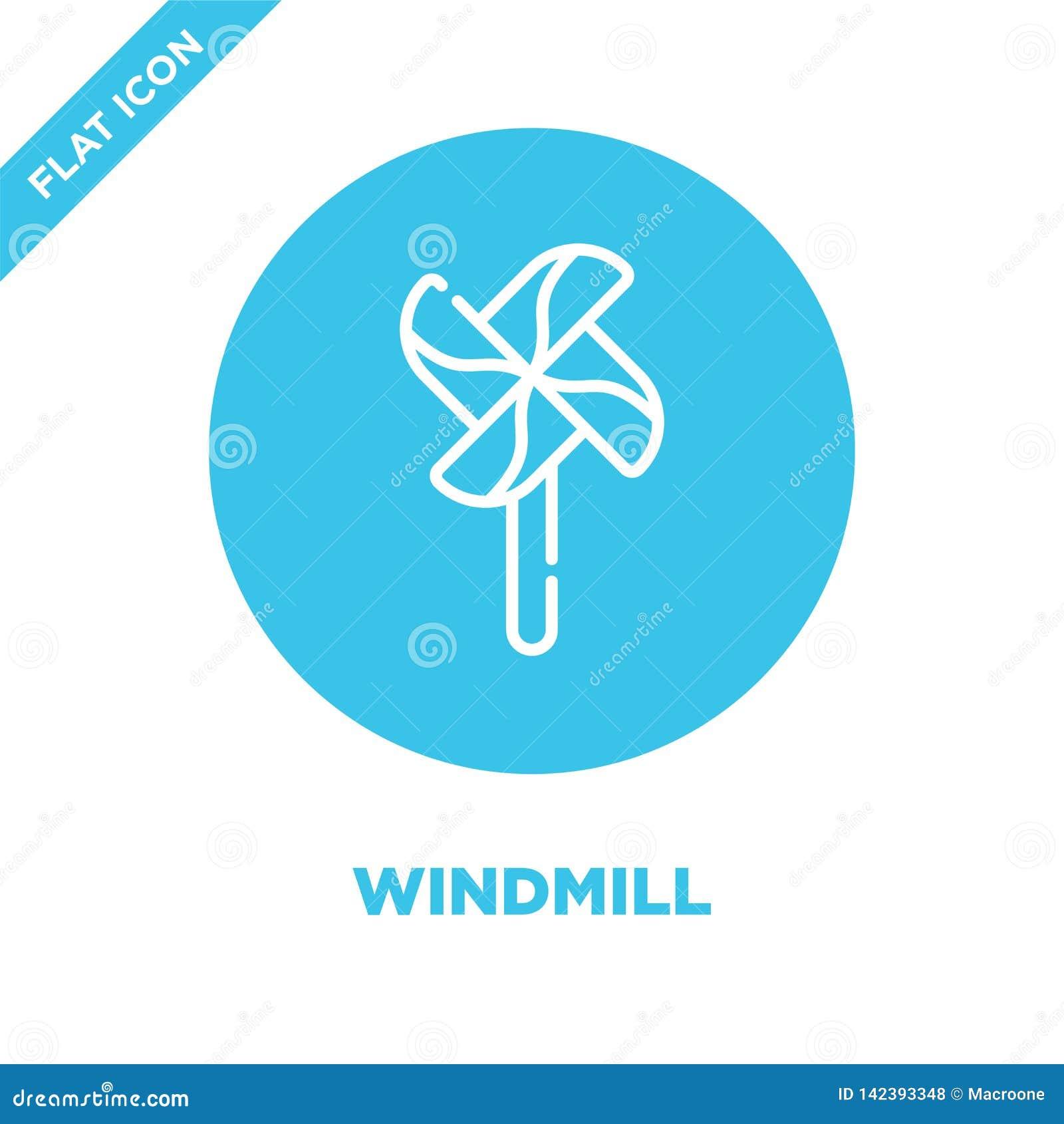De vector van het windmolenpictogram van de inzameling van het babyspeelgoed De dunne van het het overzichtspictogram van de lijn
