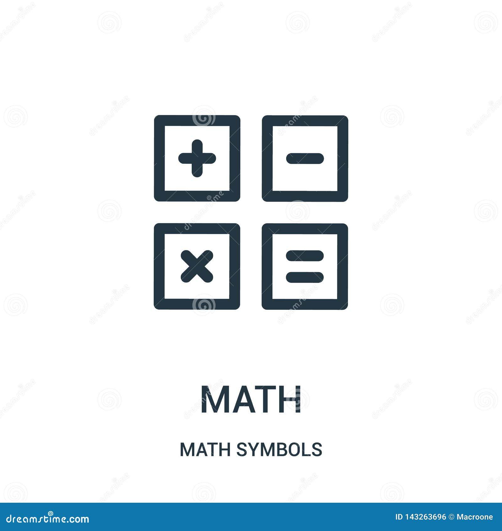 De vector van het wiskundepictogram van de inzameling van wiskundesymbolen De dunne van het het overzichtspictogram van de lijnwi