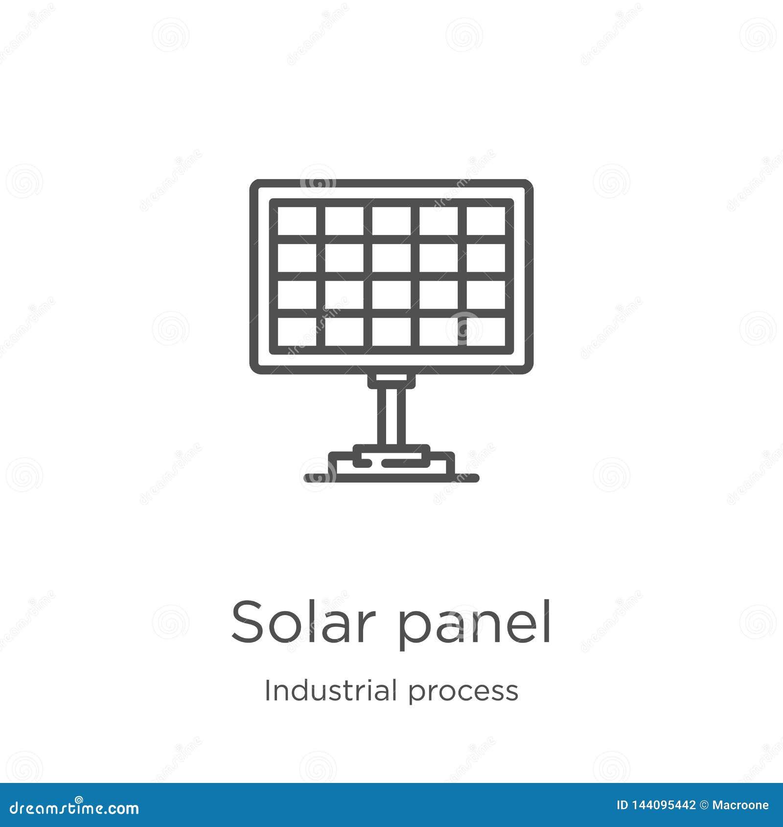 De vector van het zonnepaneelpictogram van industrieel procesinzameling De dunne van het het overzichtspictogram van het lijnzonn