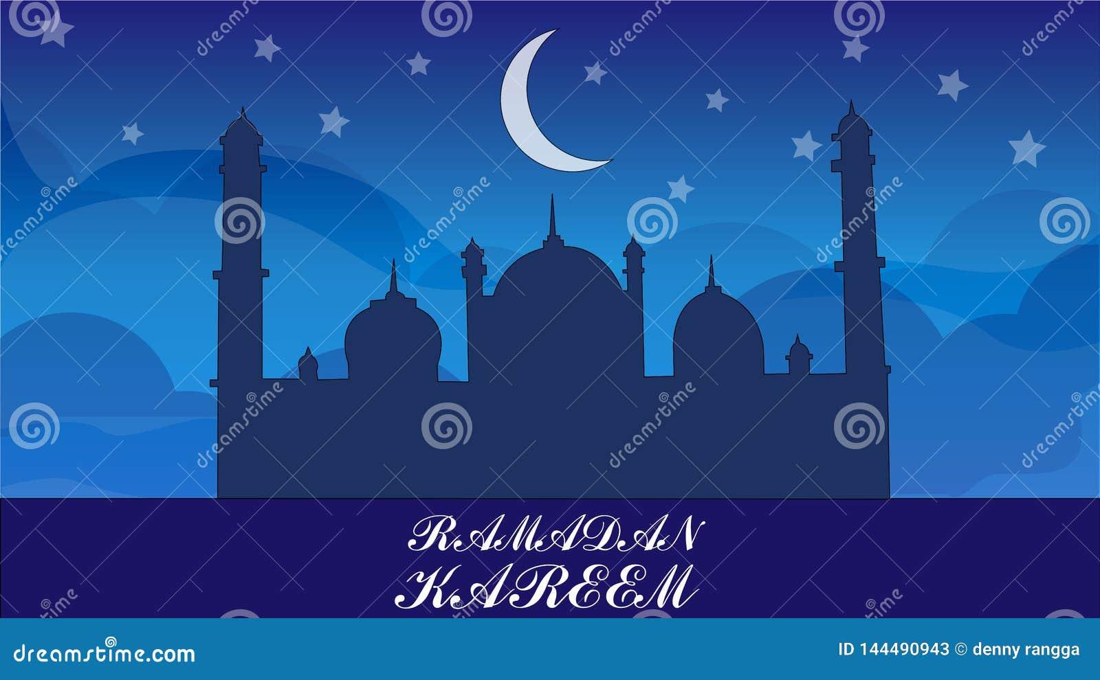 De vector van de Ramadan kareem illustratie met nachtscène