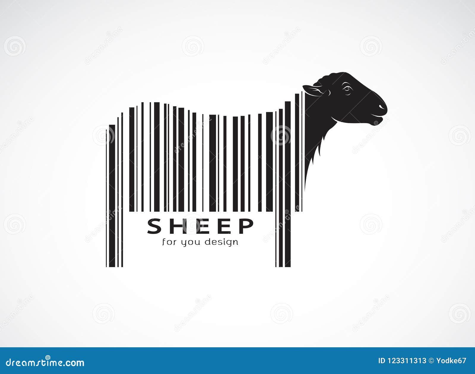 De vector van schapen op het lichaam is een streepjescode Wilde dieren