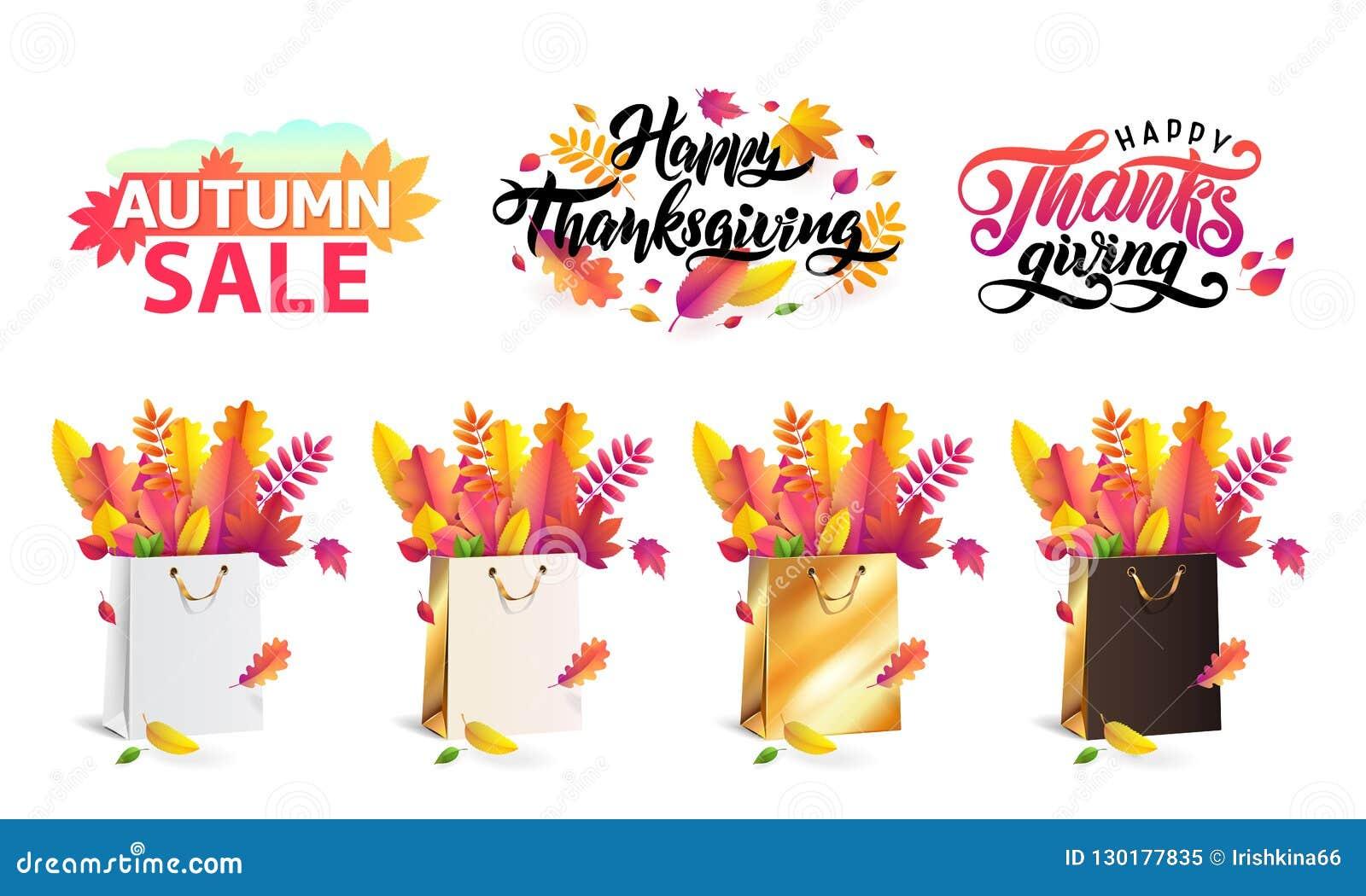 De vector vastgestelde de herfst gevallen bladeren in gift die doet goud, zwart wit in zakken, winkelen Dankzegging het van lette