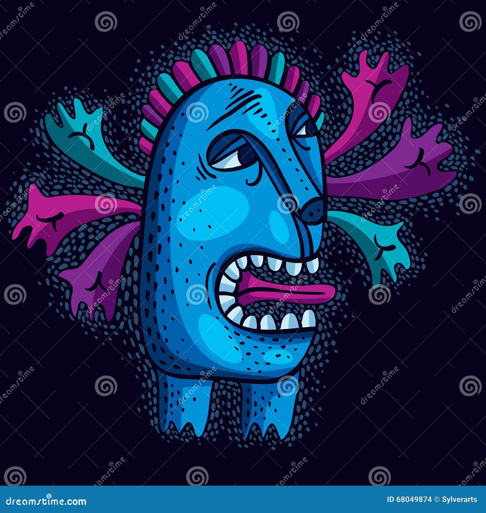 De vector vlakke illustratie van het karaktermonster, leuke blauwe mutant Dr.
