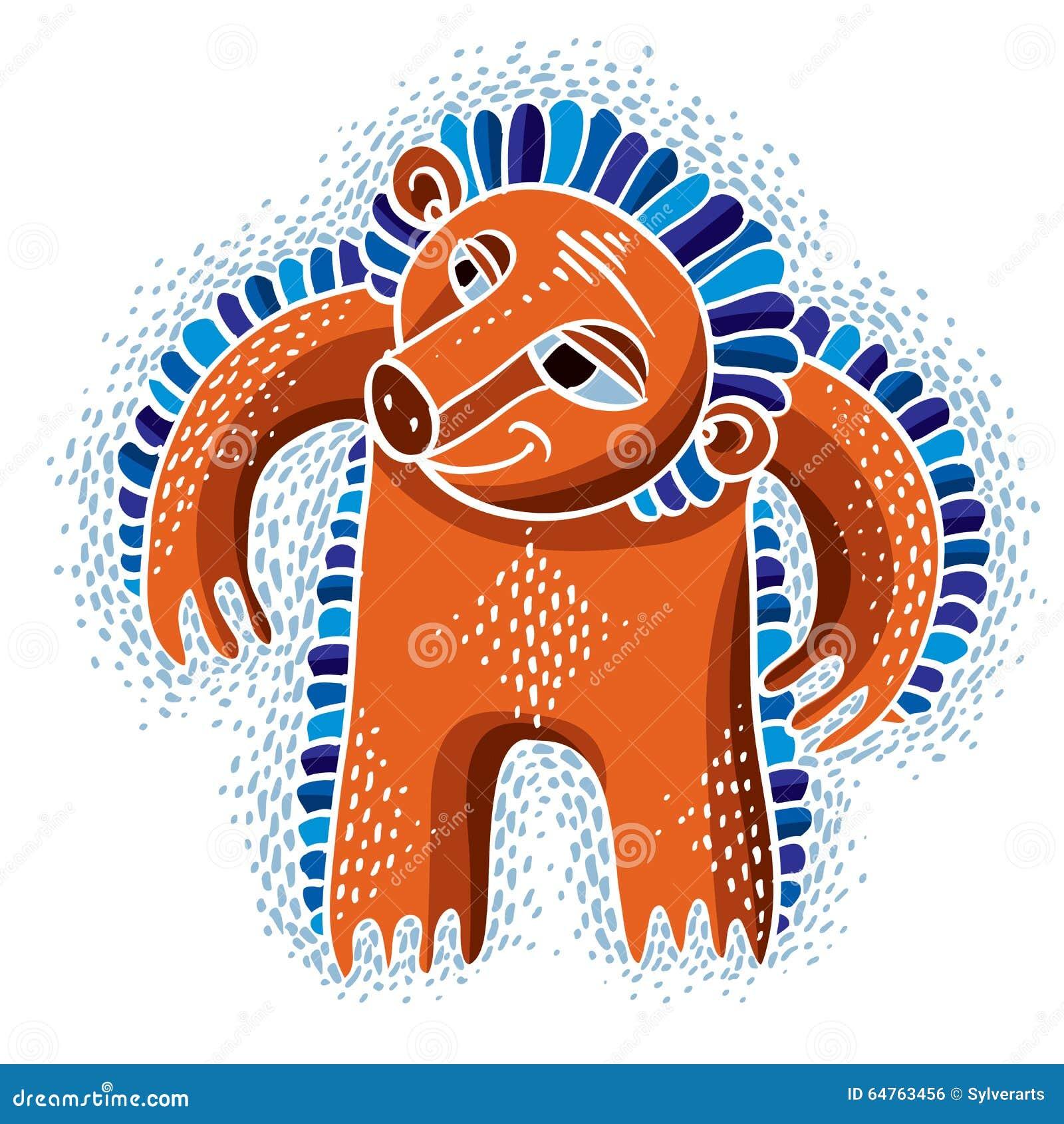 De vector vlakke illustratie van het karaktermonster, leuke oranje mutant