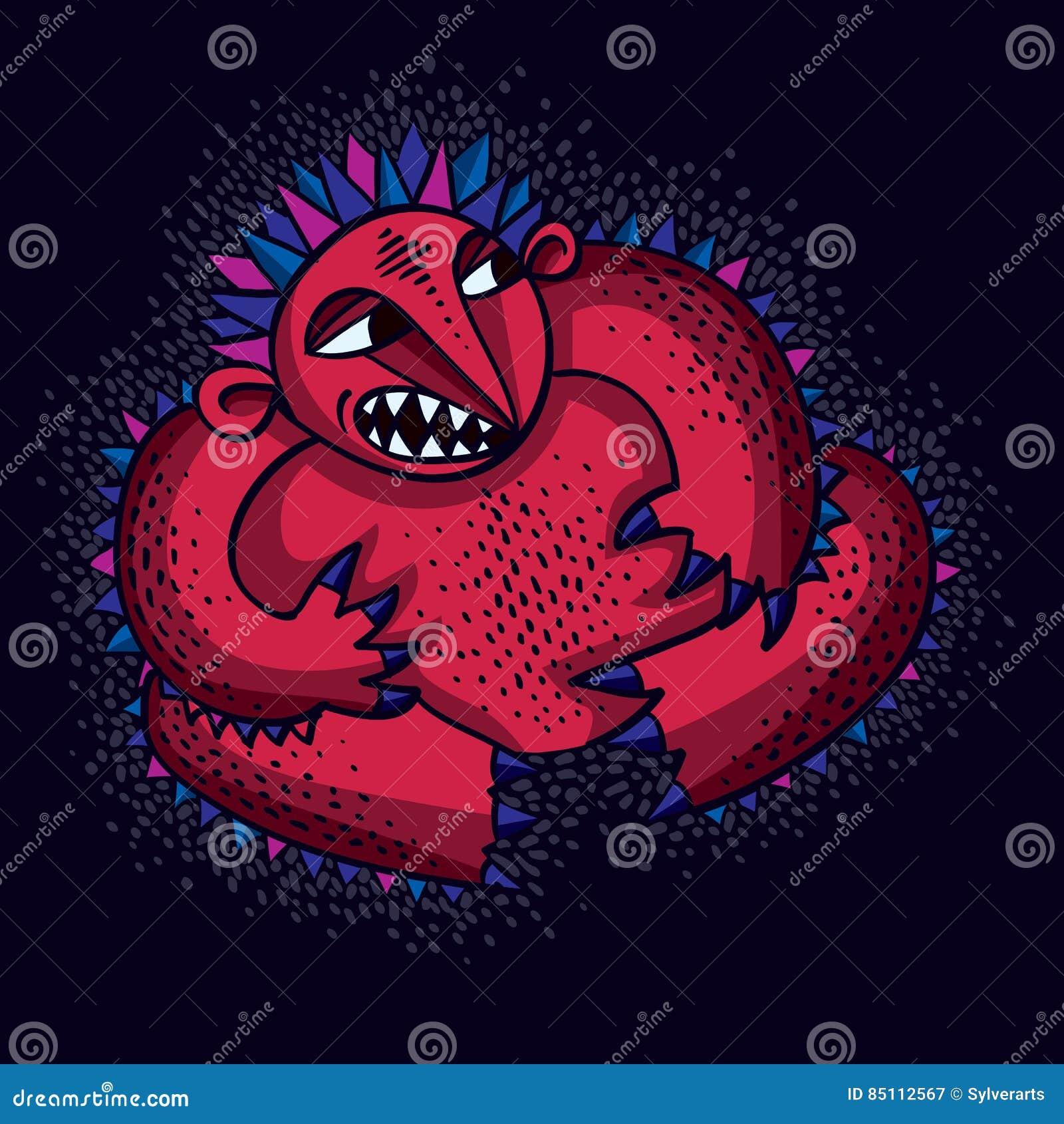 De vector vlakke illustratie van het karaktermonster, leuke rode boze mutan