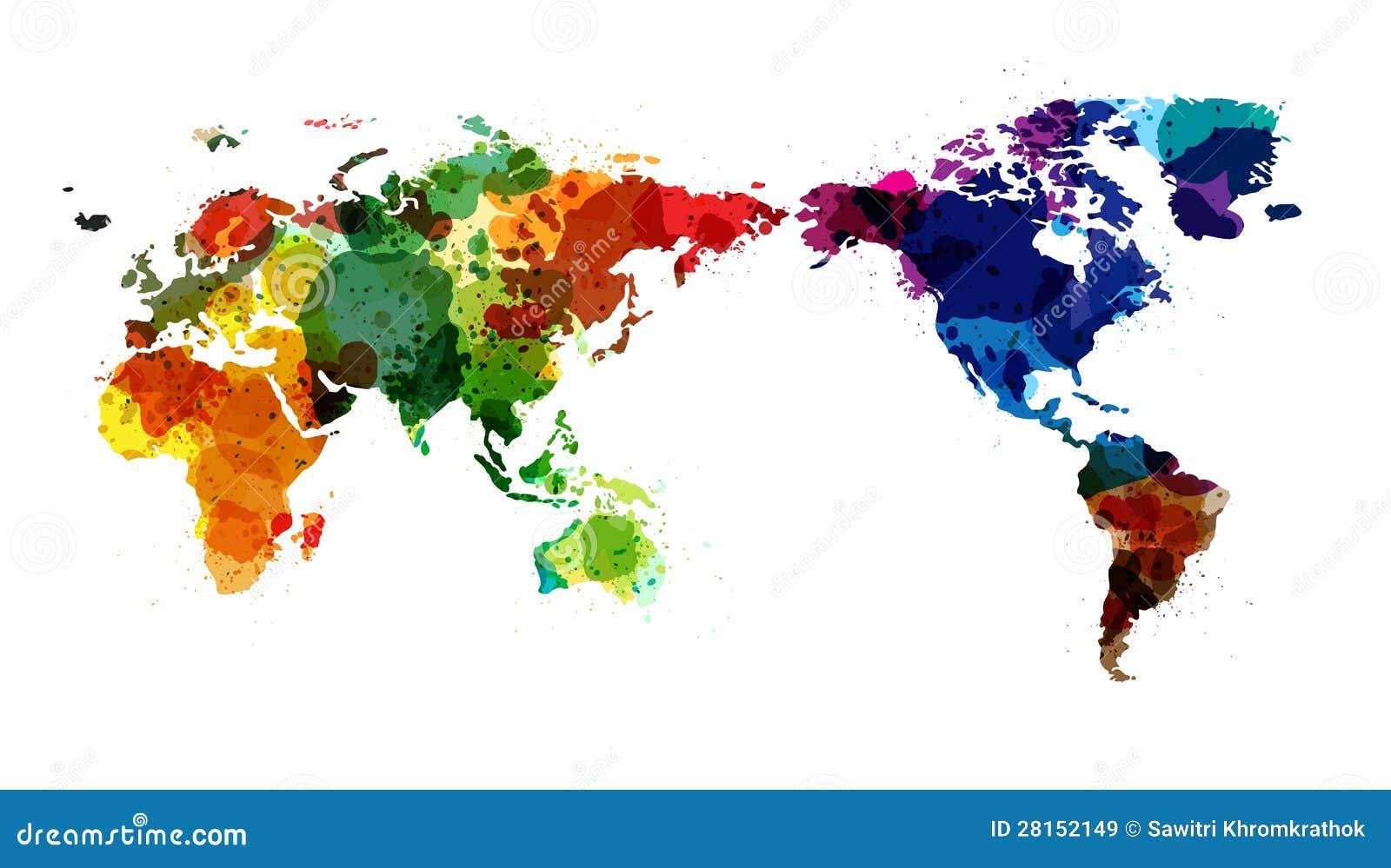 De vector waterverf van de kaart van de wereld royalty vrije stock afbeeldingen afbeelding - Basket thuis van de wereld ...