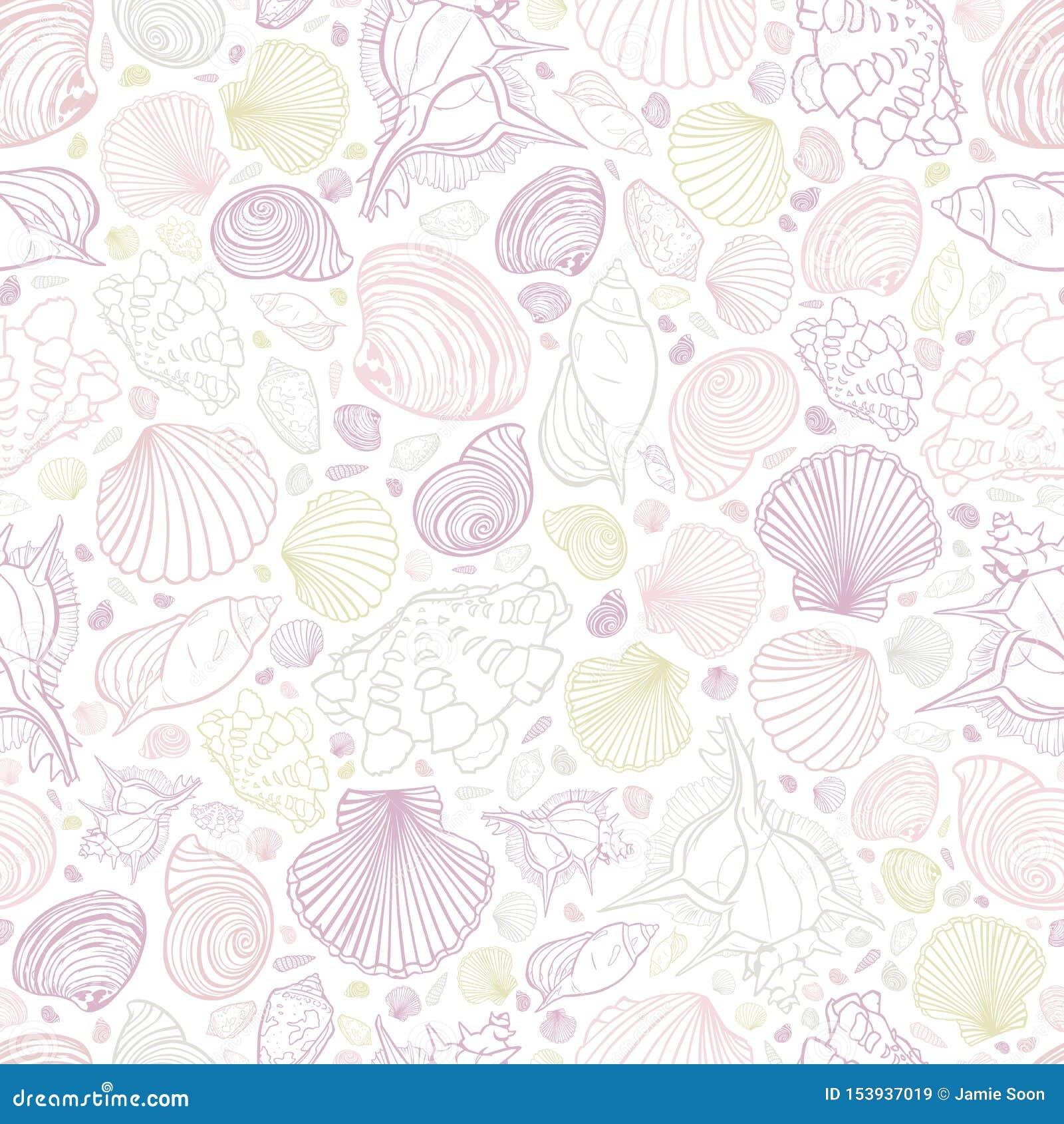 De vector witte pastelkleurkleuren herhalen patroon met verscheidenheid van zeeschelpen Perfectioneer voor groeten, uitnodigingen