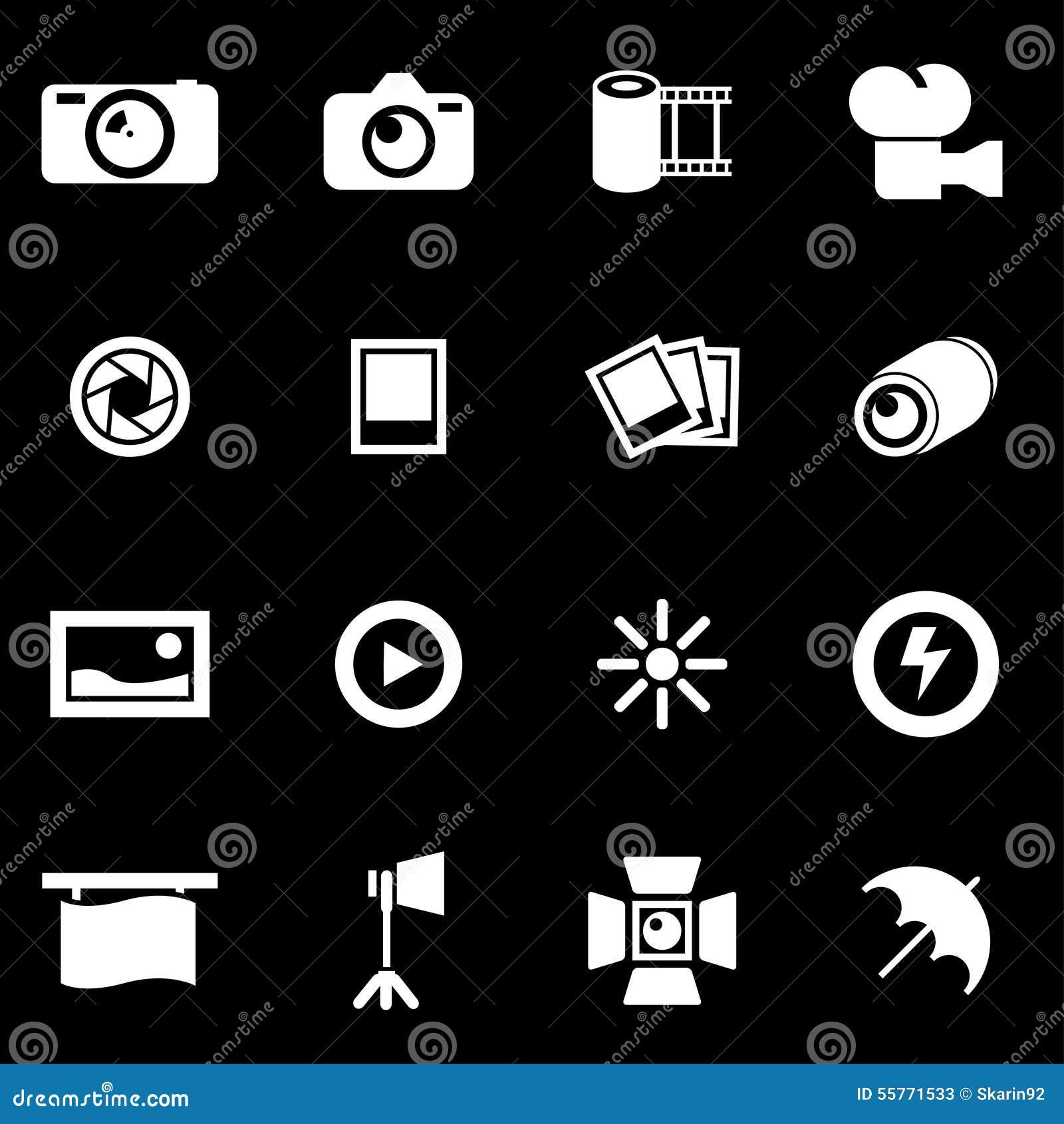 De vector witte reeks van het fotopictogram