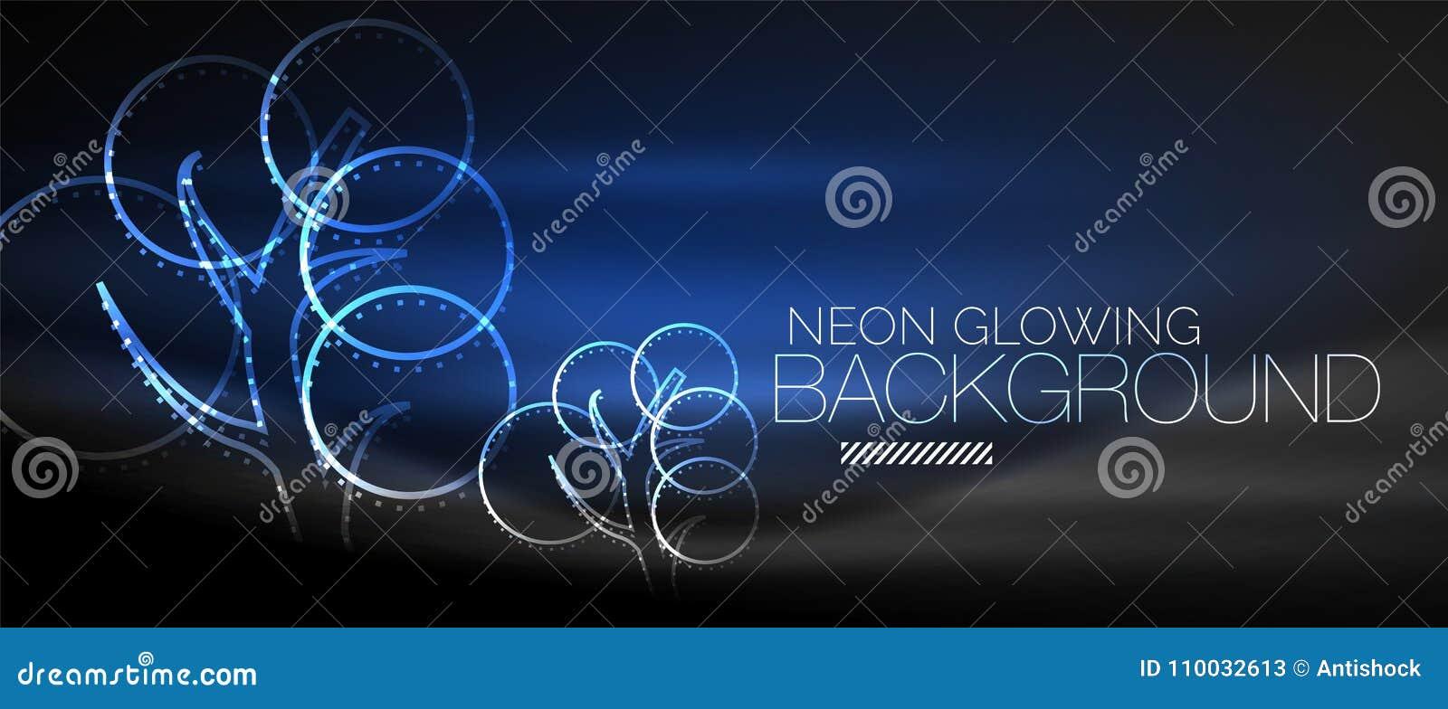 De vectorachtergrond van de neon gloeiende boom