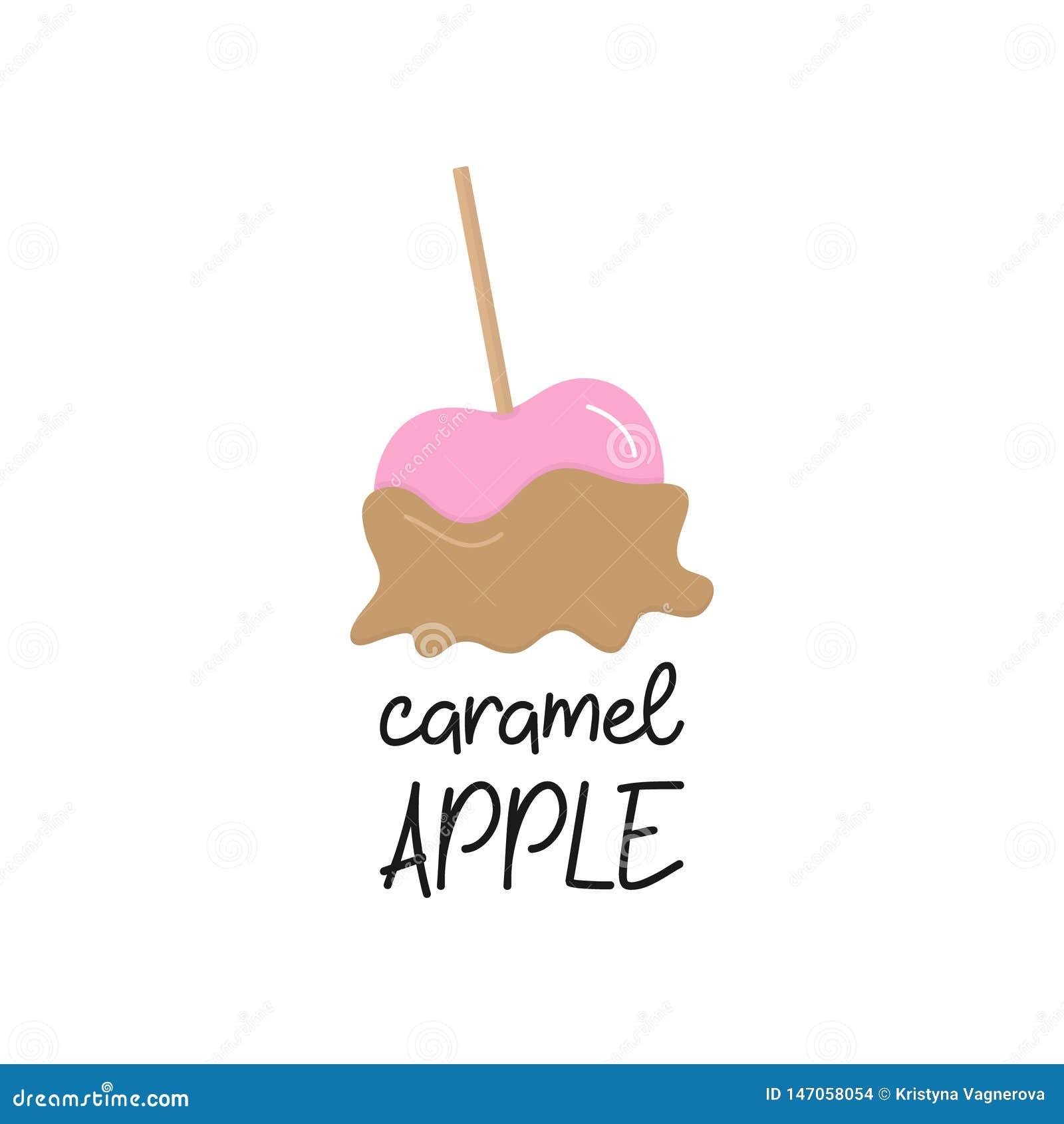 De vectorafbeeldingenillustratie van de karamelappel