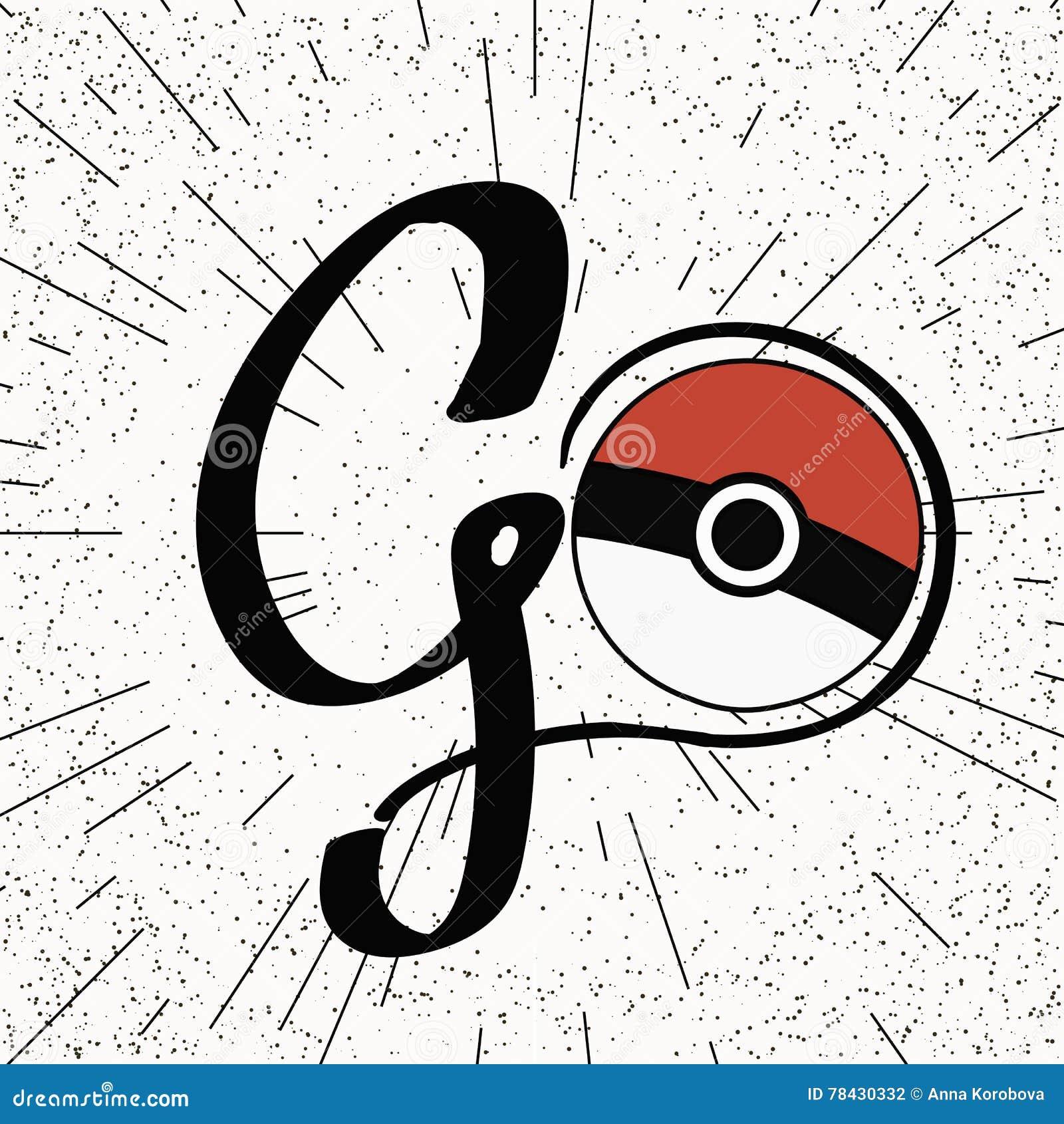 De vectorbal van Pokeball pokemon met Met de hand geschreven