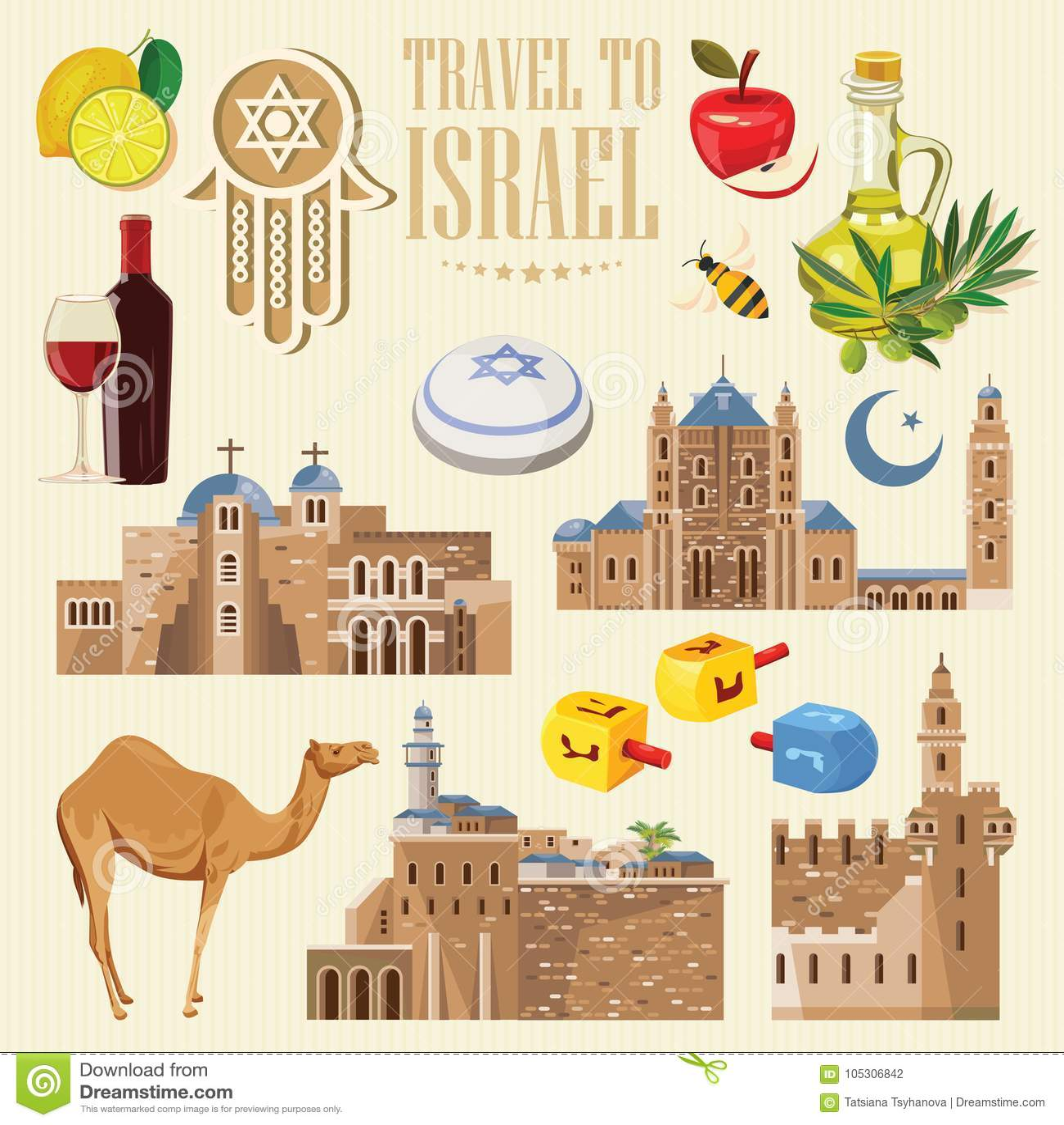 De vectorbanner van Israël met Joodse oriëntatiepunten Reeks traditionele pictogrammen van Israël op lichte achtergrond
