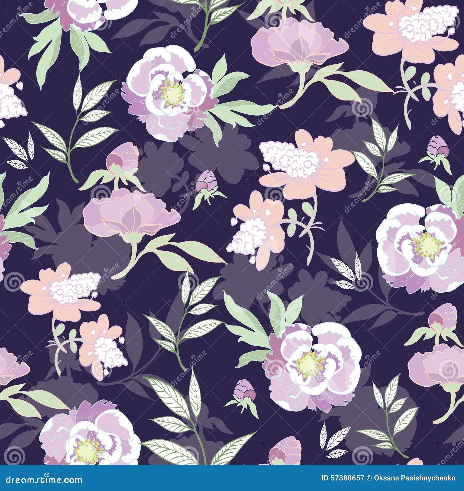 De vectorbloemen van de Pastelkleurkimono op Zwarte Naadloos