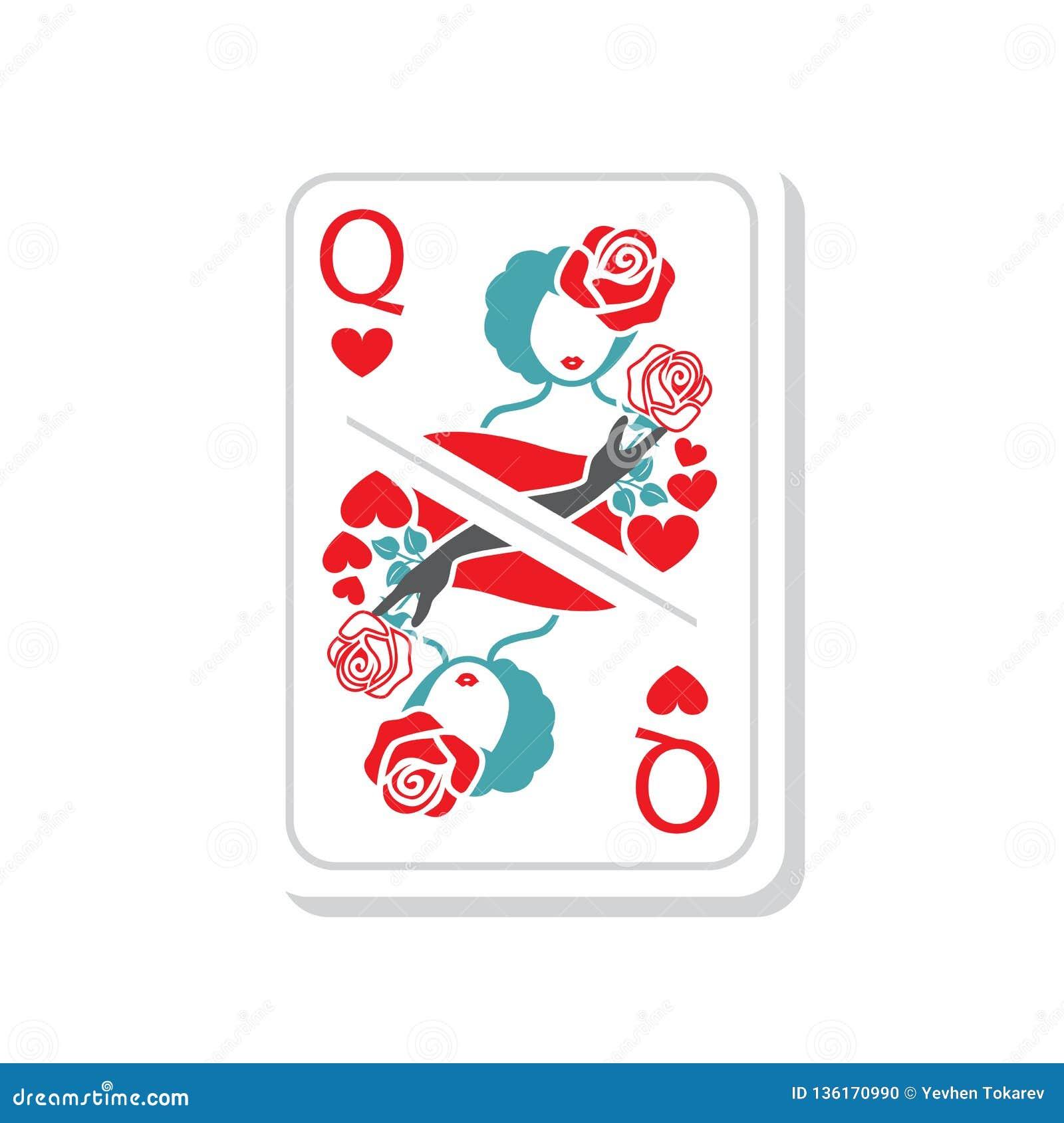 De vectordame van de illustratiespeelkaart van harten