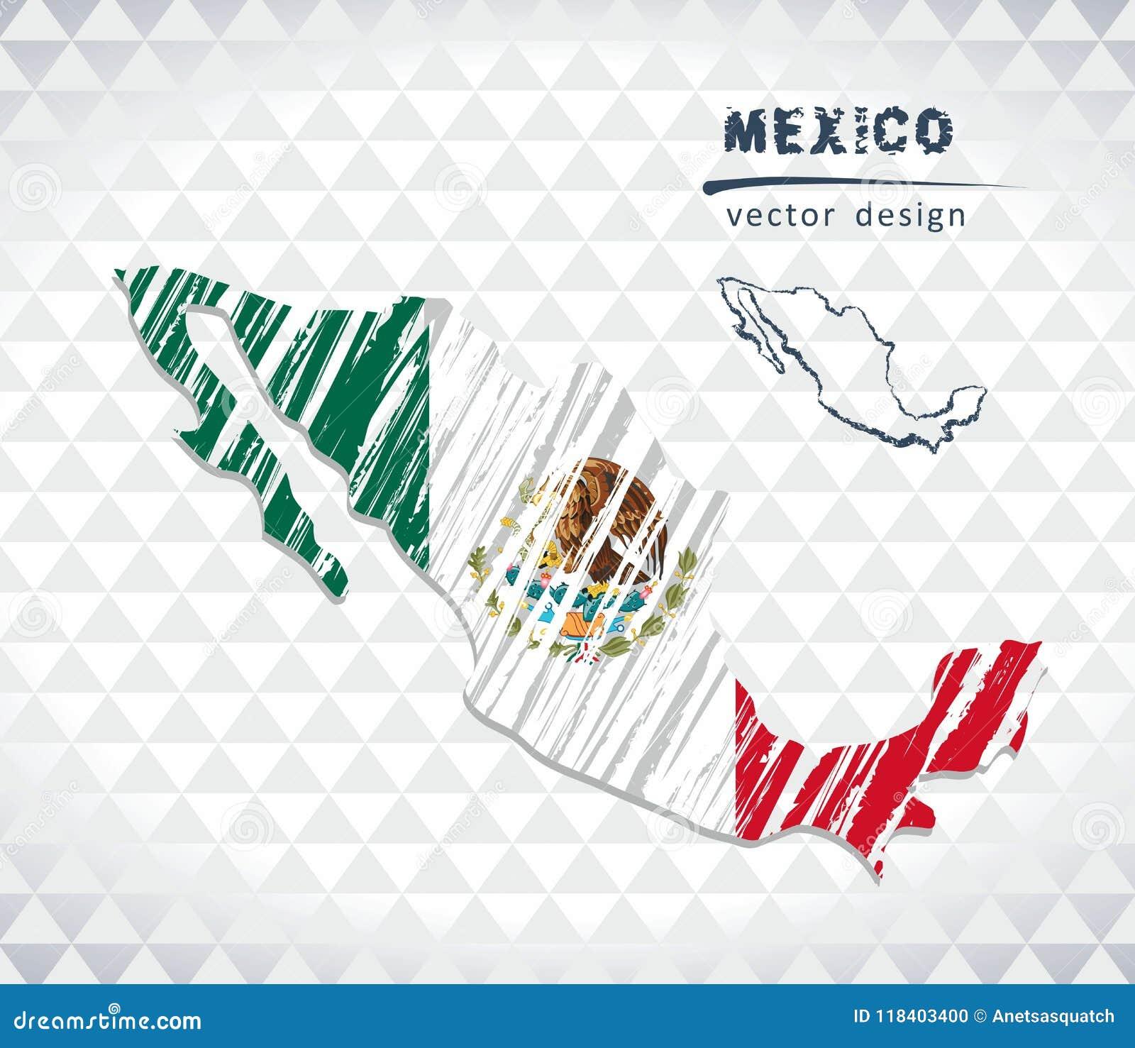 De vectordiekaart van Mexico met vlagbinnenkant op een witte achtergrond wordt geïsoleerd De getrokken illustratie van het schets