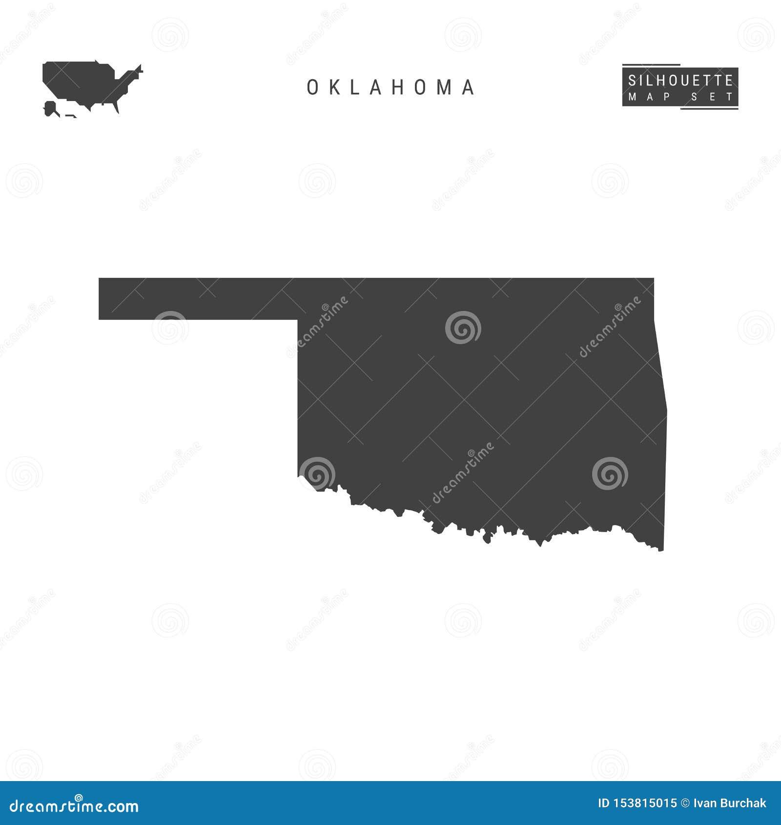De VectordieKaart van de Staat van Oklahoma de V.S. op Witte Achtergrond wordt geïsoleerd Hoog-High-Detailed Zwarte Silhouetkaart